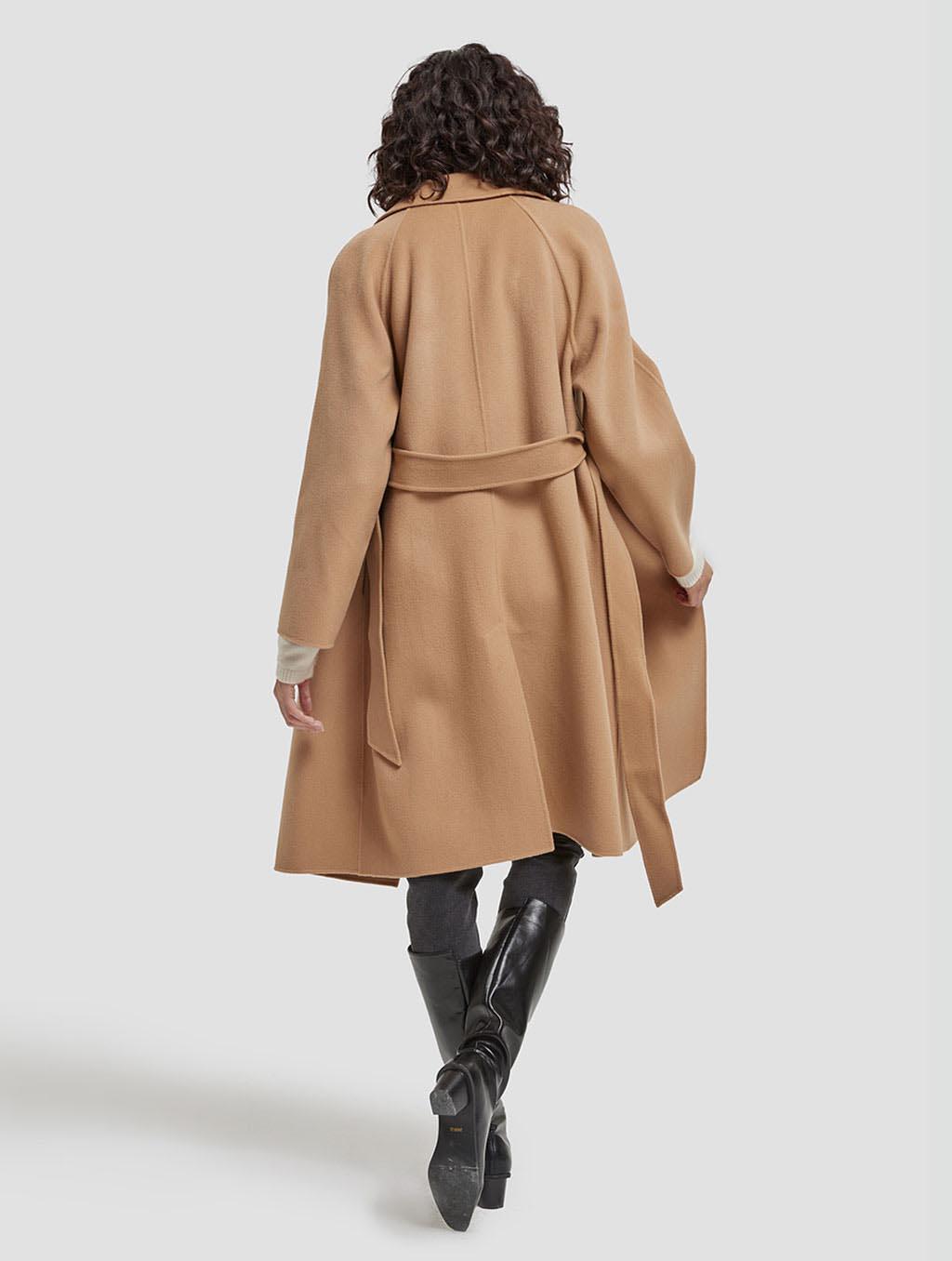 Belted Wrap Wool Coat-back-camel