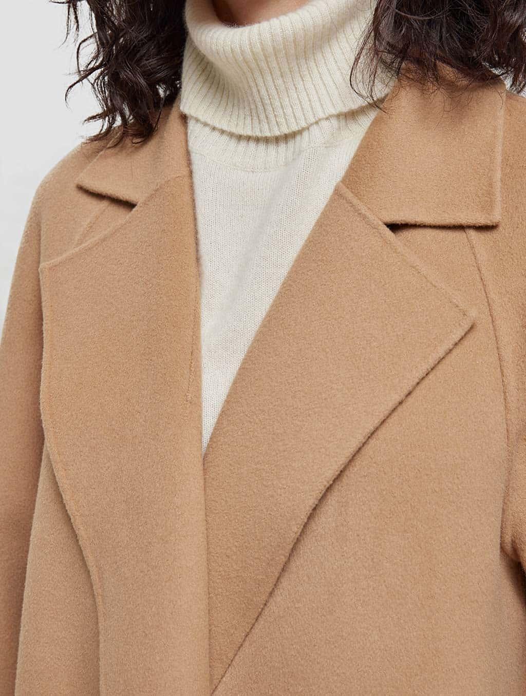 Belted Wrap Wool Coat-detail-camel