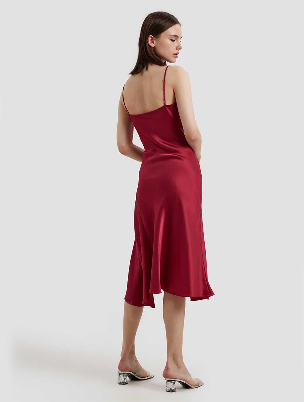 Cowl Neck Srips Dress-back-red