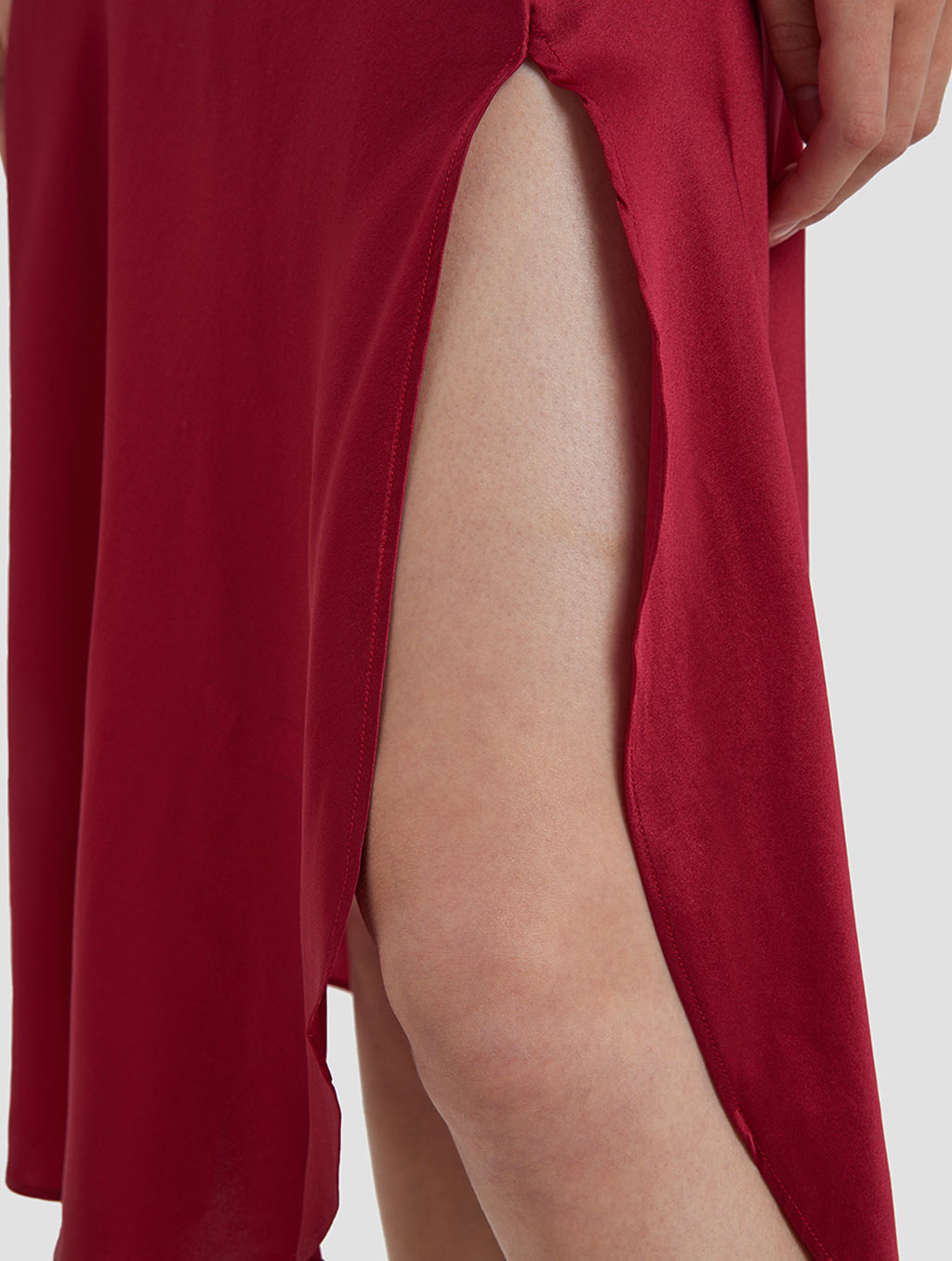 Cowl Neck Srips Dress -detail- red1