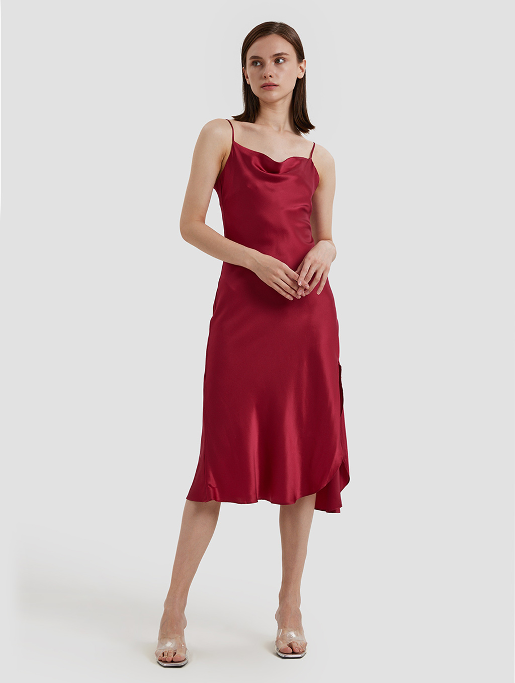 Cowl Neck Srips Dress -positive-red