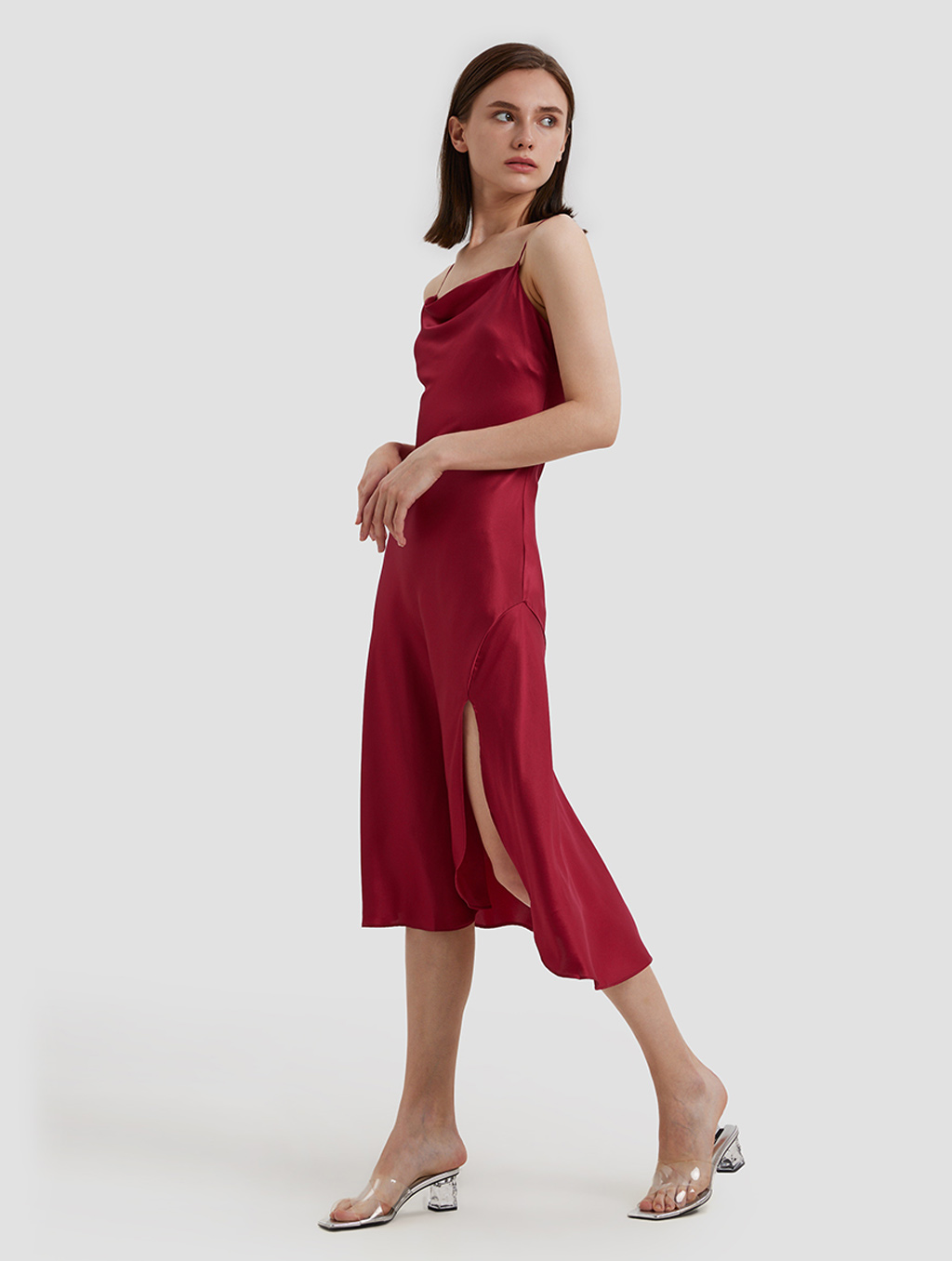 Cowl Neck Srips Dress -side-red