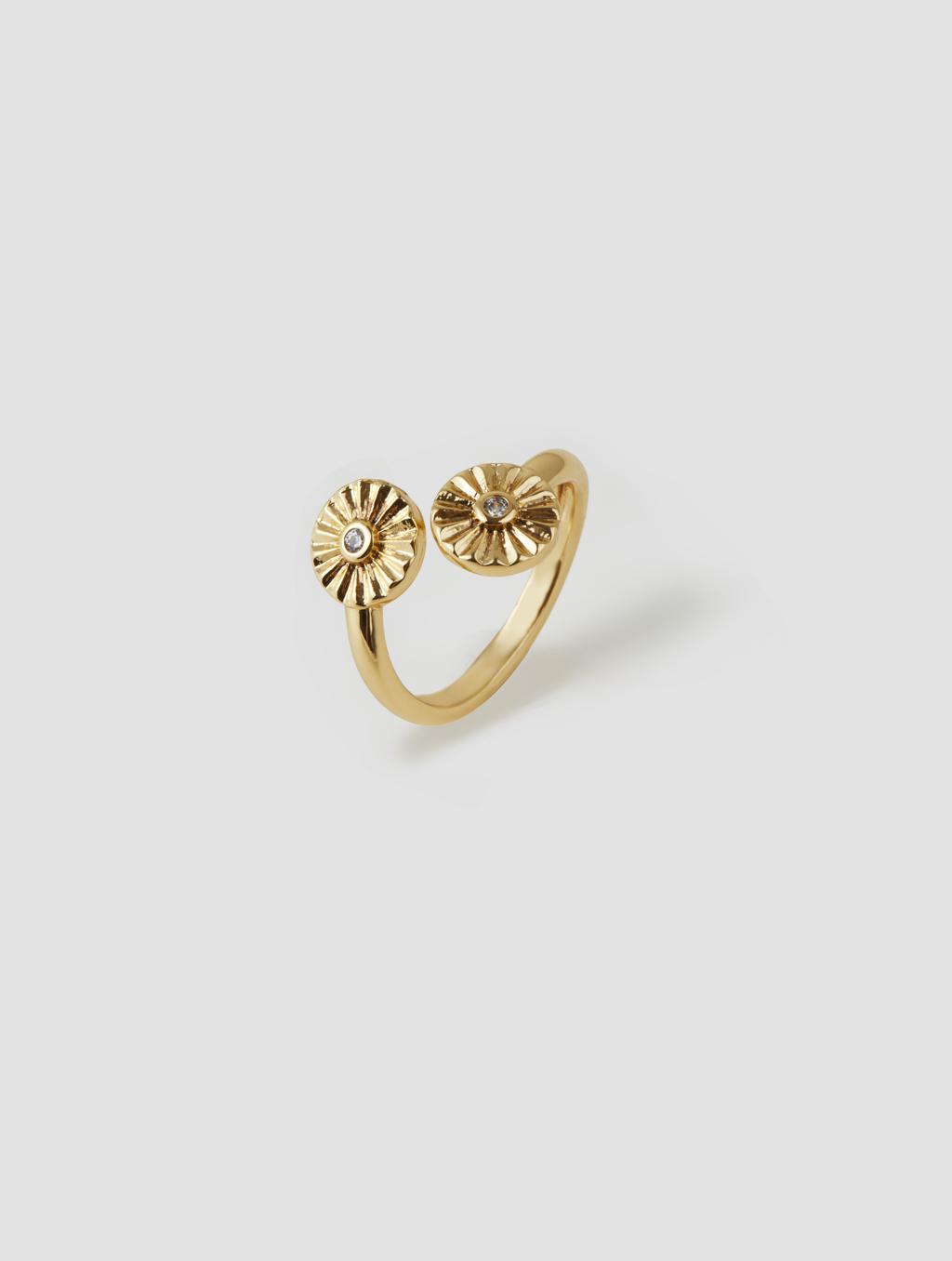 Double Sunflower Ring-back-gold