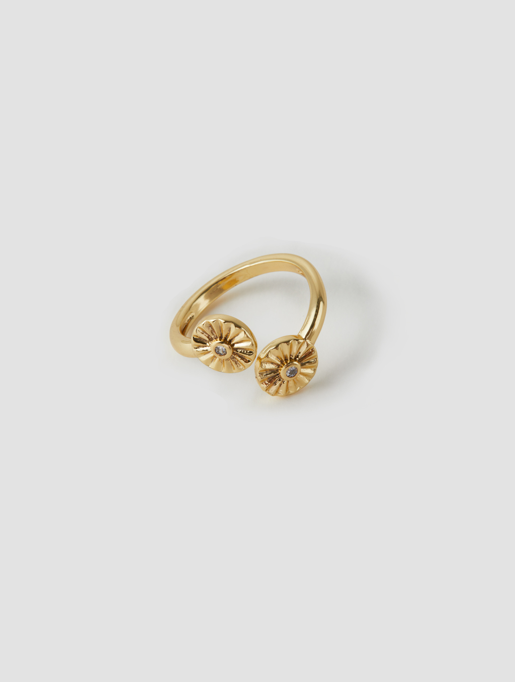 Double Sunflower Ring-positive-gold