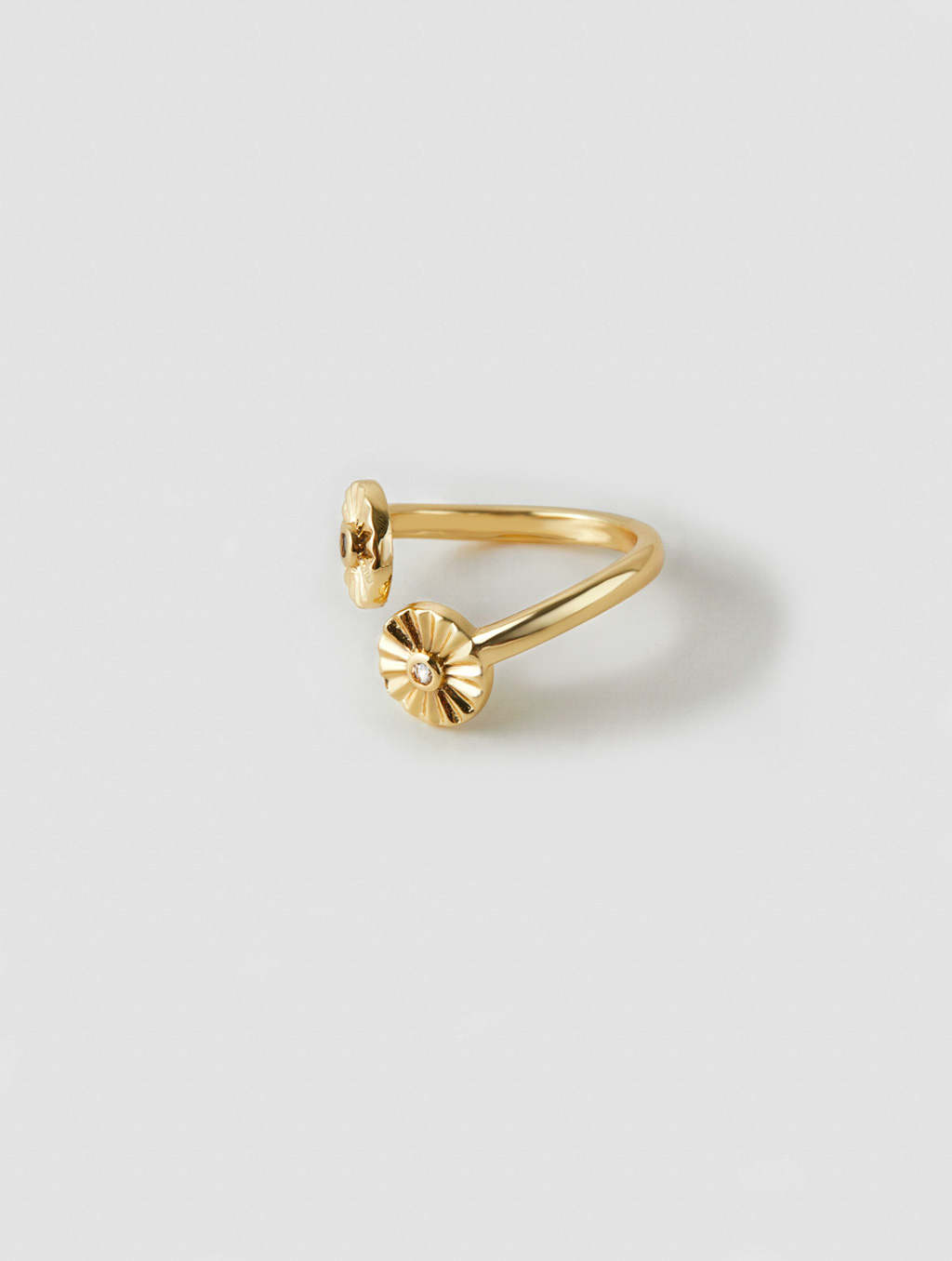 Double Sunflower Ring-side-gold