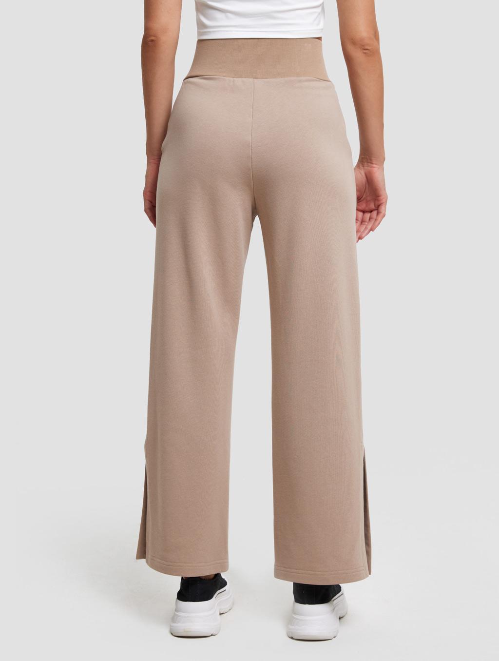 High-waist Threaded Slit Sweatpant-back-Caramel