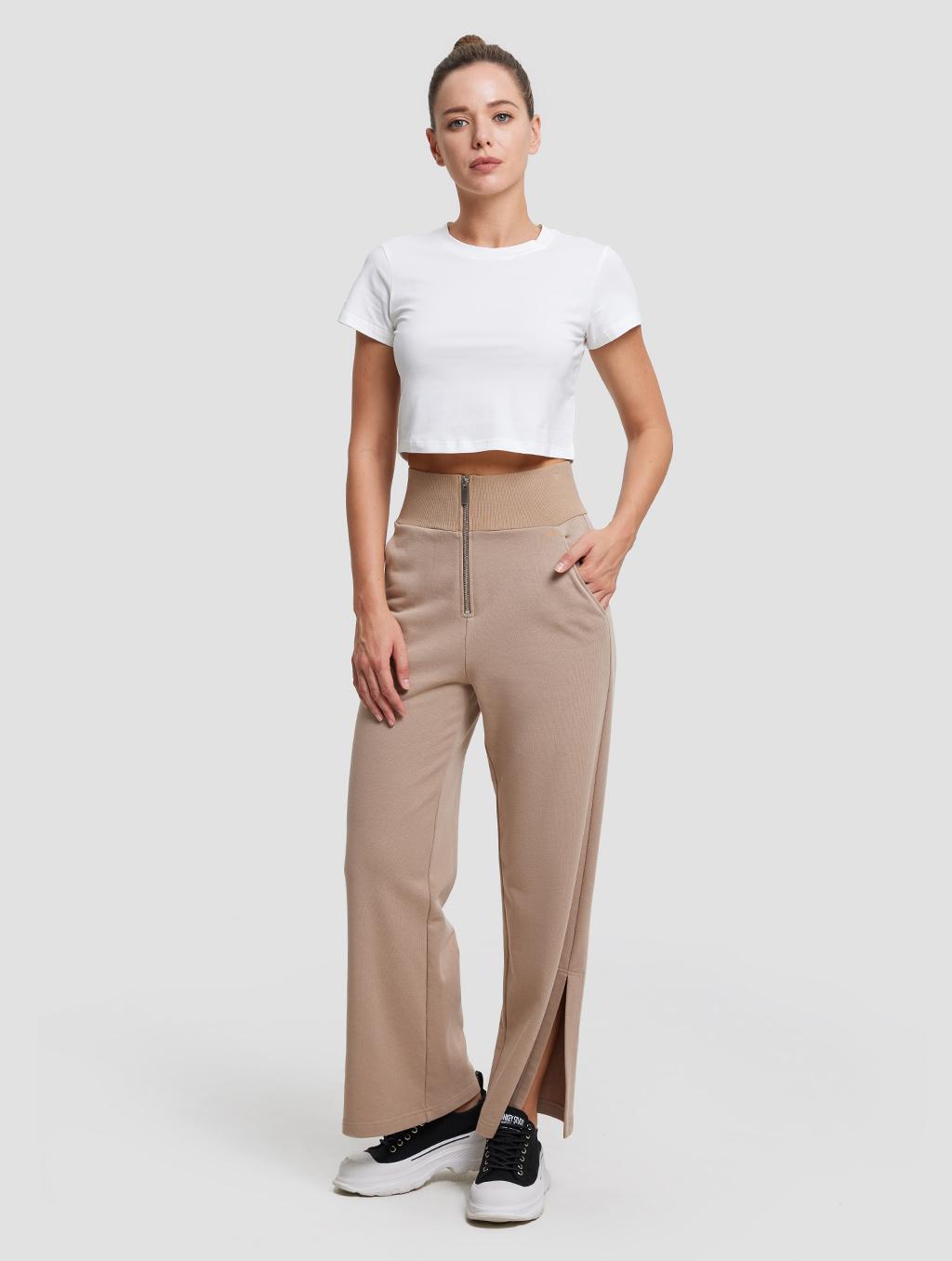 High-waist Threaded Slit Sweatpant- whole body - Caramel