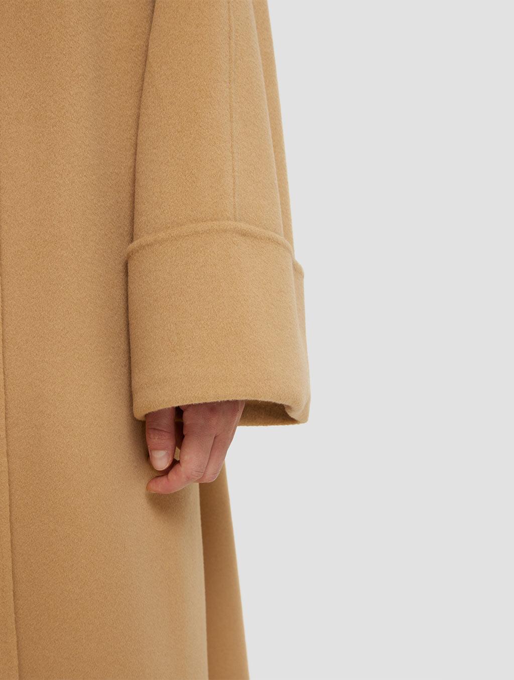 Long Straight Cut Wool Coat- detail1-camel