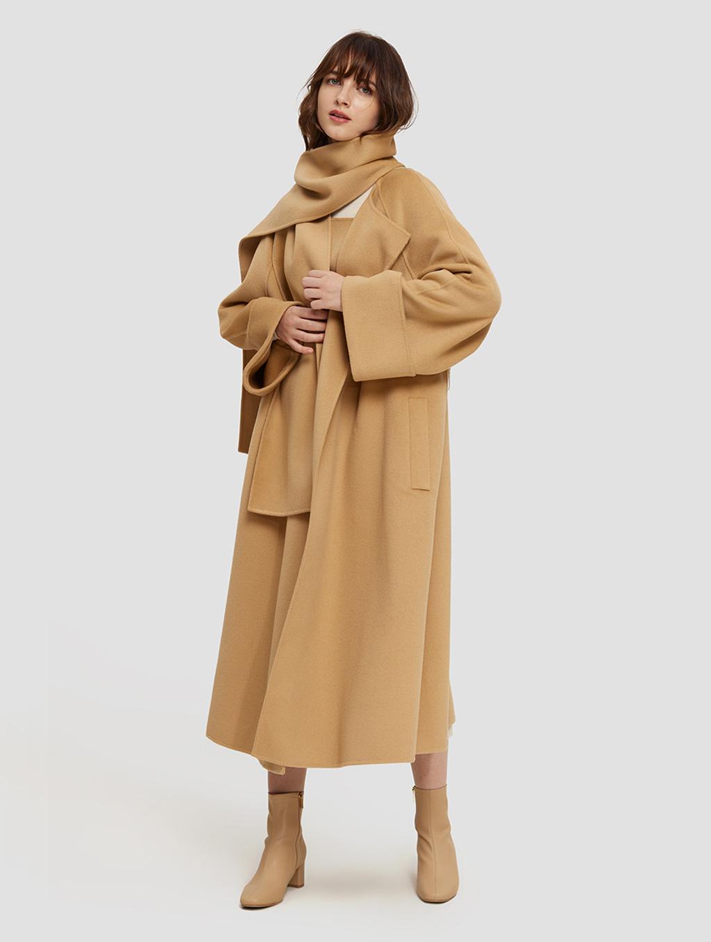 Long Straight Cut Wool Coat- positive-camel