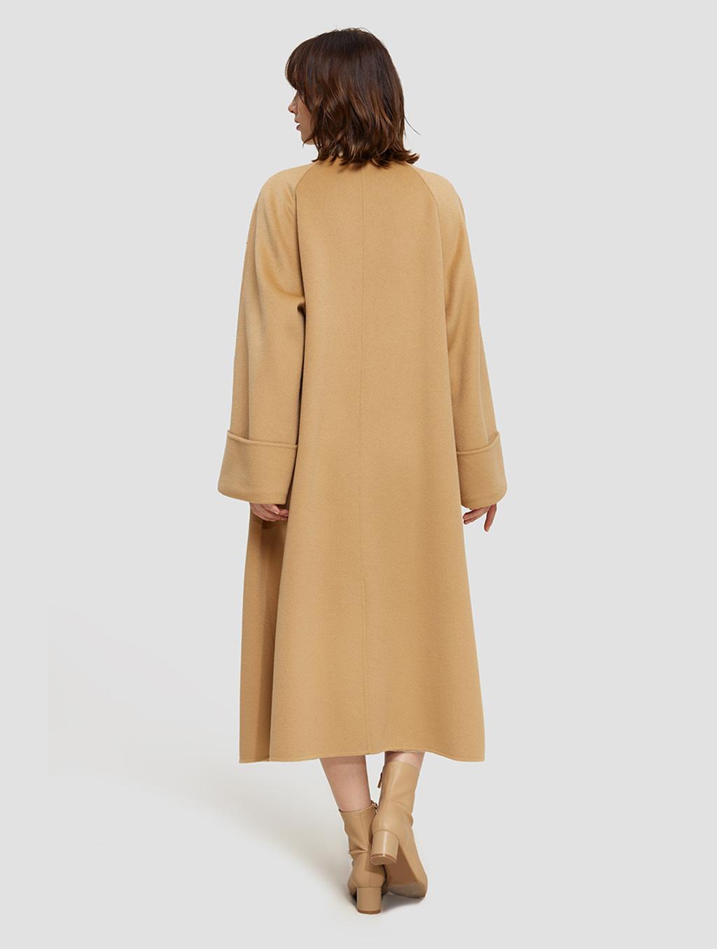 Long Straight Cut Wool Coat- positive-camelLong Straight Cut Wool Coat- back-camel