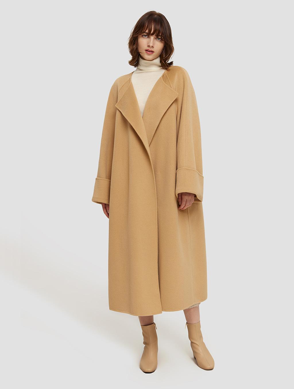 Long Straight Cut Wool Coat- positive1-camel