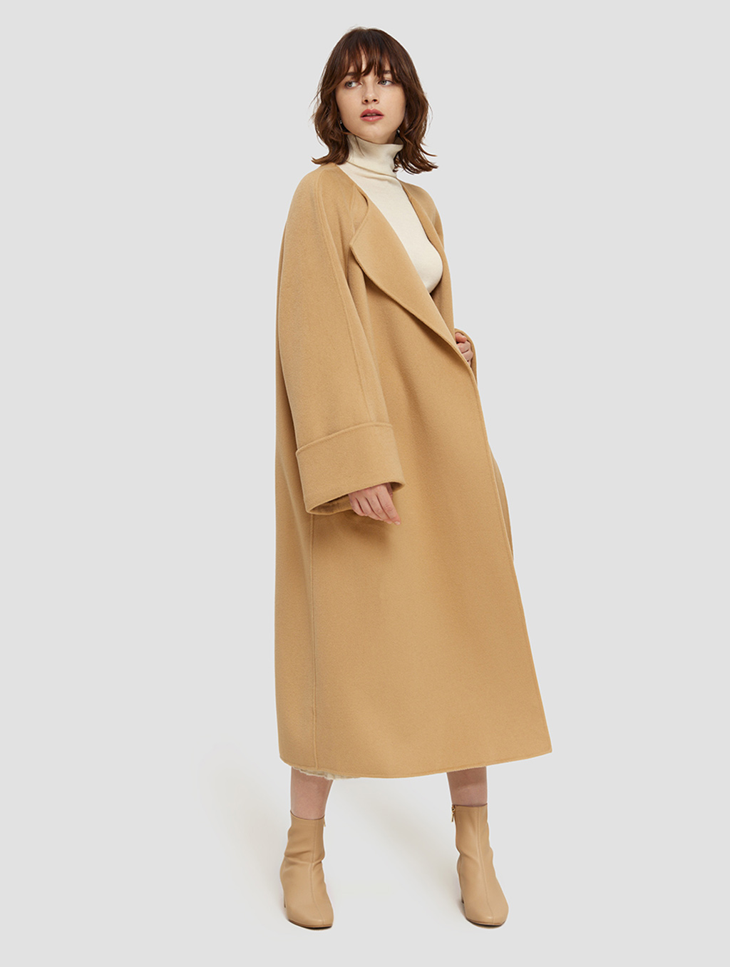 Long Straight Cut Wool Coat- side-camel