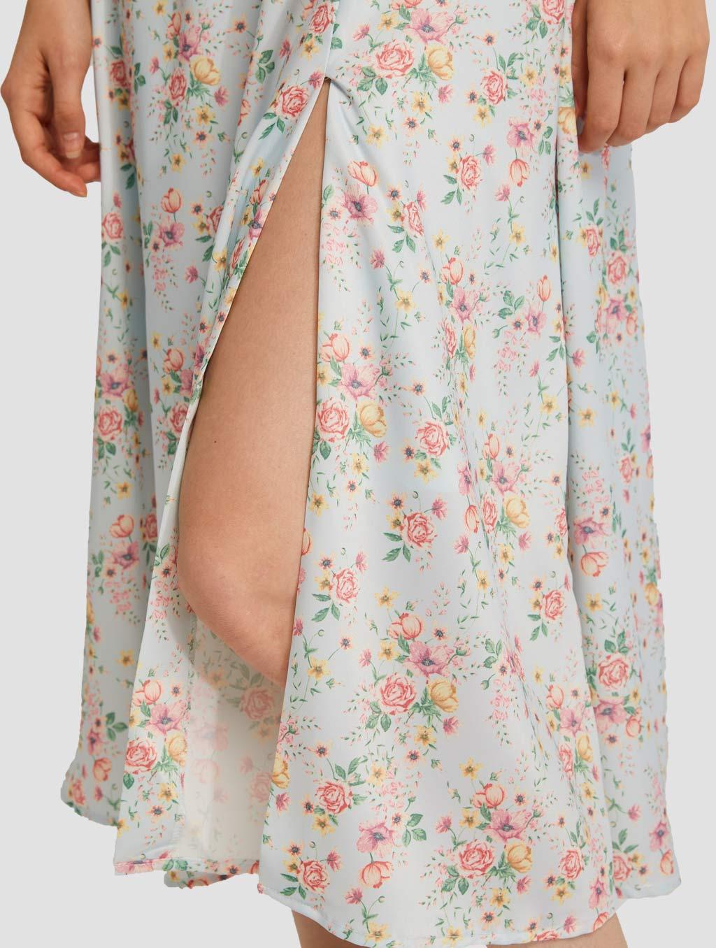 Puff Sleeve Midi Dress-detail-blue1