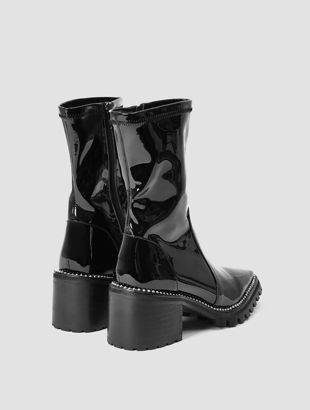 Silver Rhinestone Boots- back- black