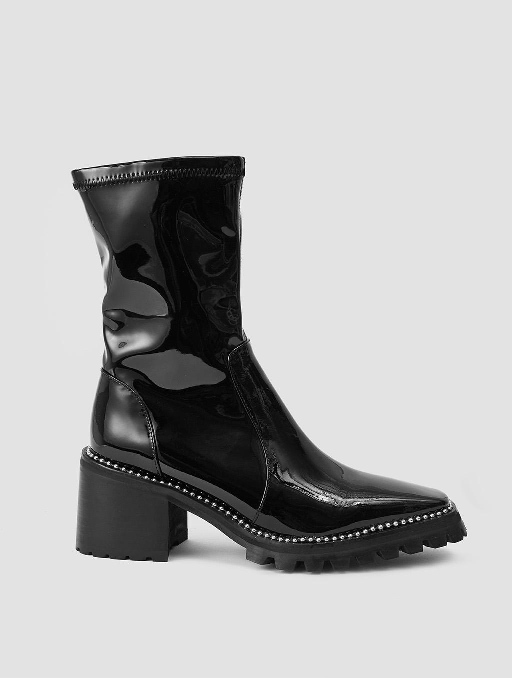 Silver Rhinestone Boots- positive- black