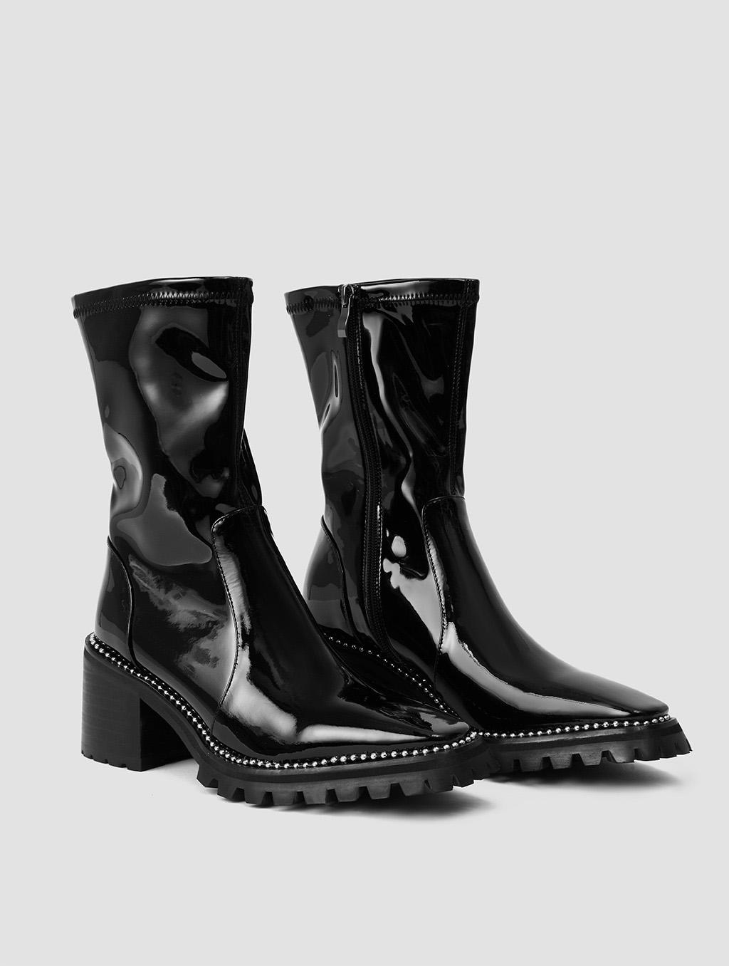 Silver Rhinestone Boots- side- black