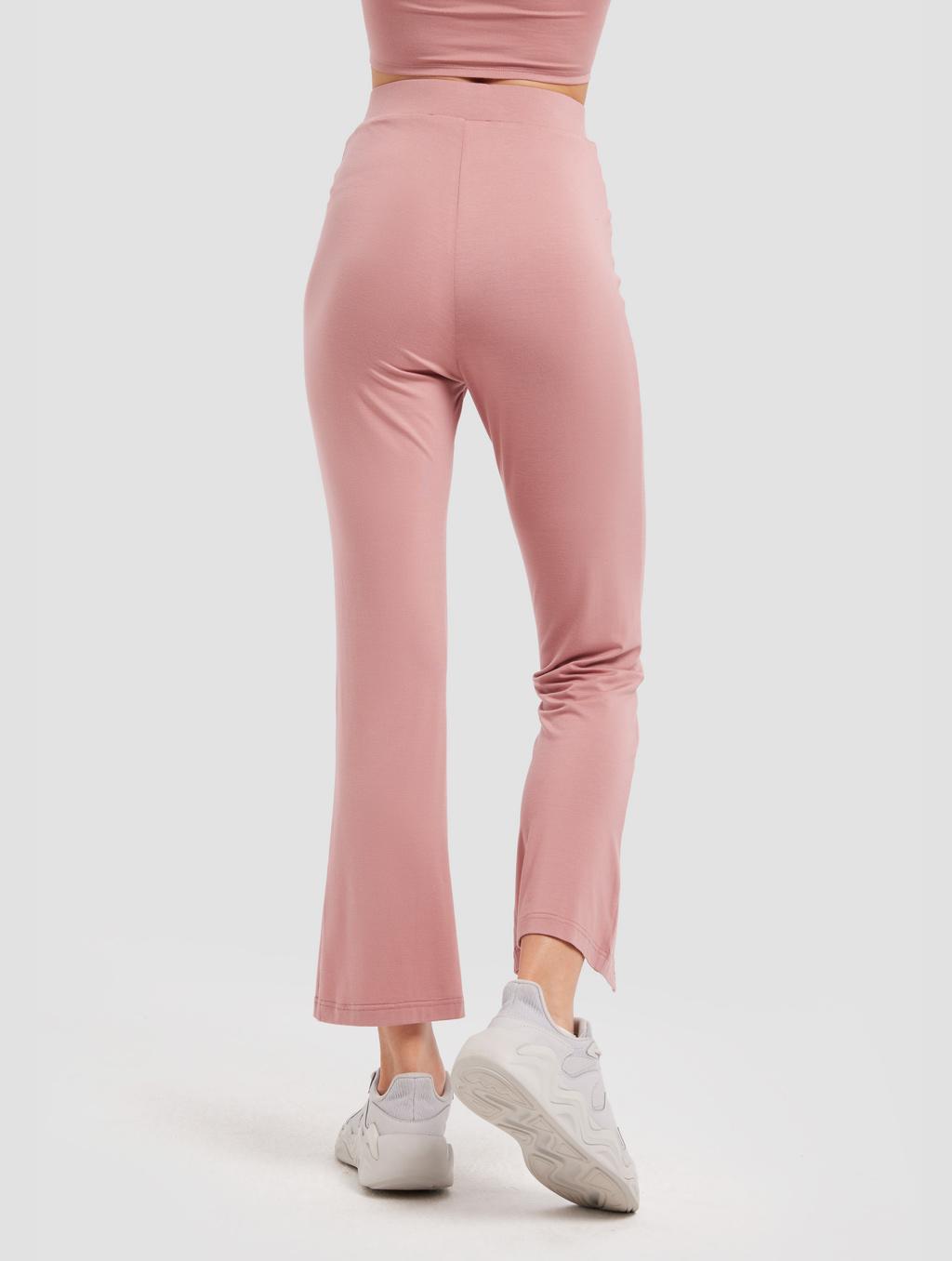 Slit Knit Pants - back- pink