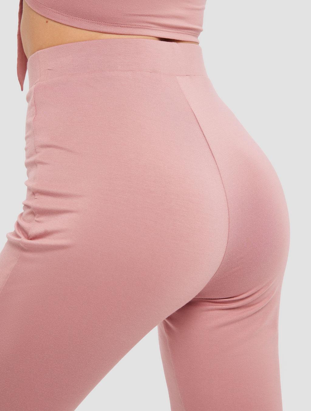 Slit Knit Pants - detail -pink