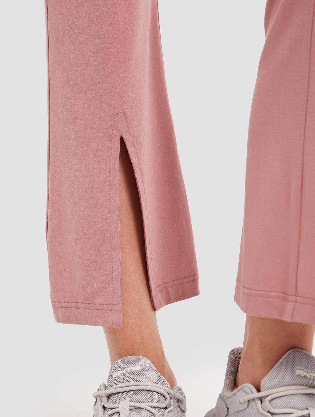 Slit Knit Pants - detail -pink1