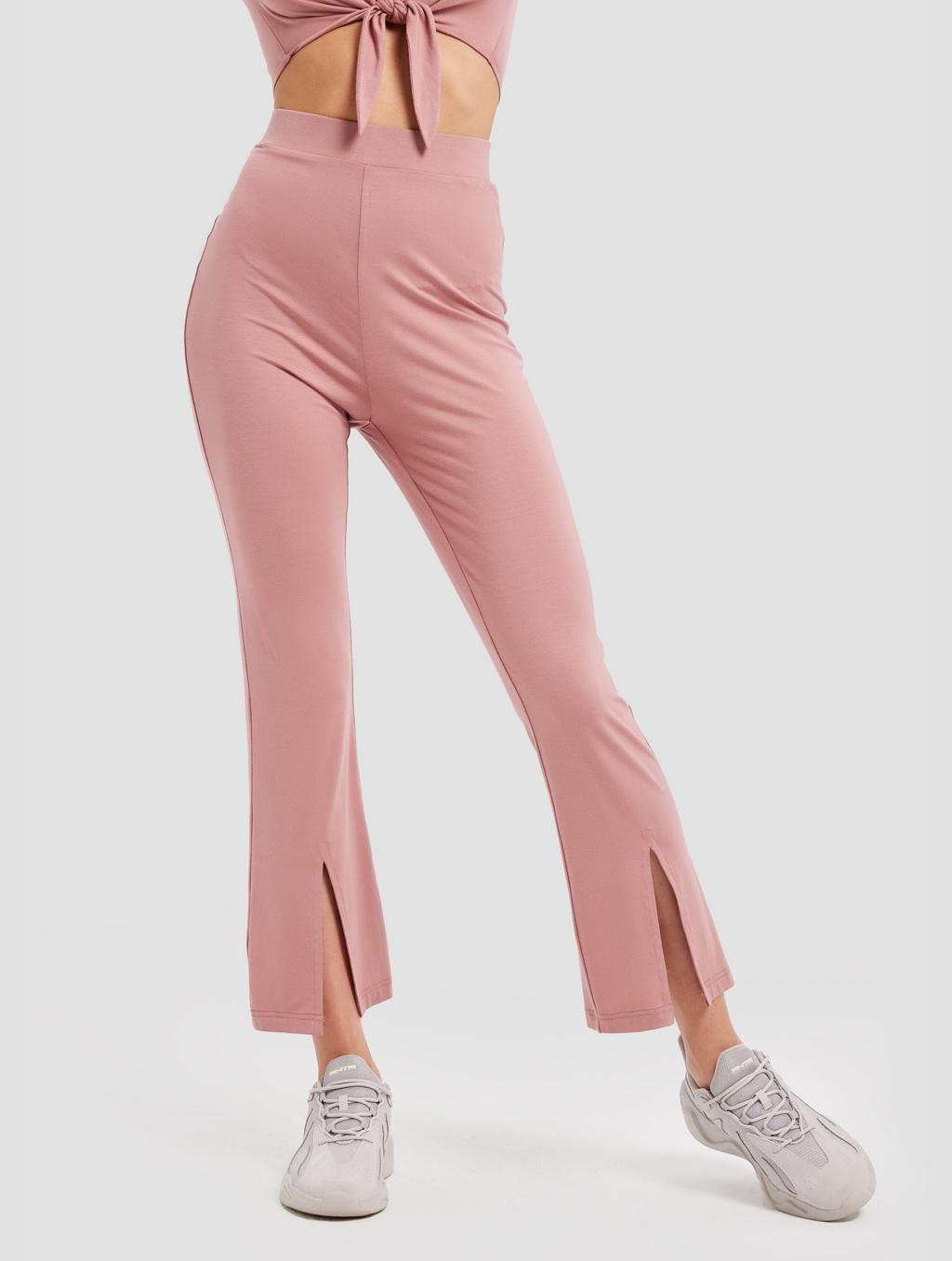 Slit Knit Pants - positive- pink