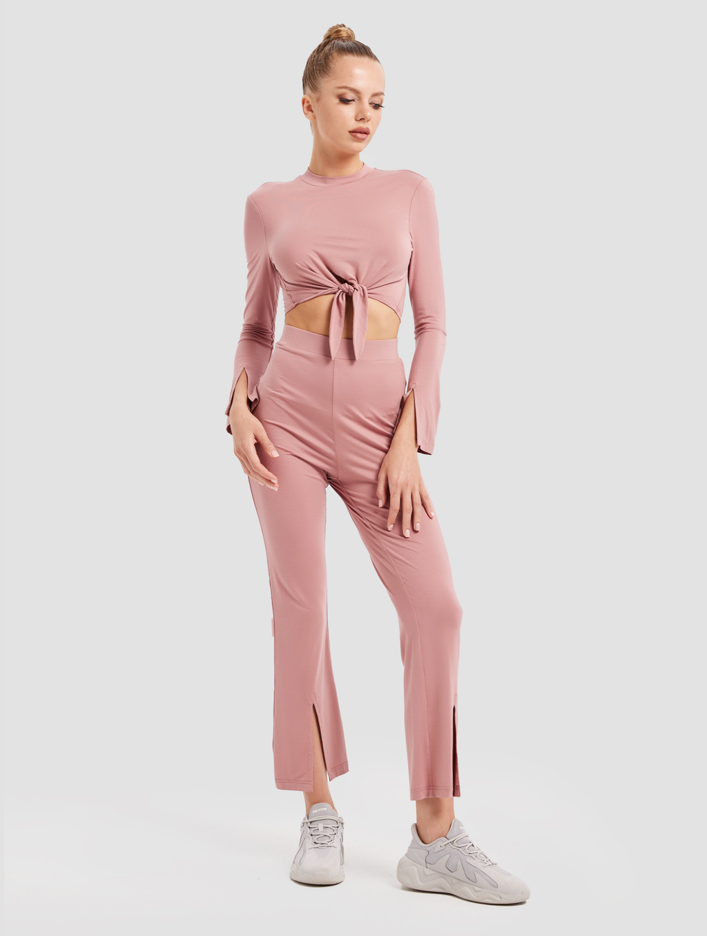 Slit Knit Pants - whole body -pink