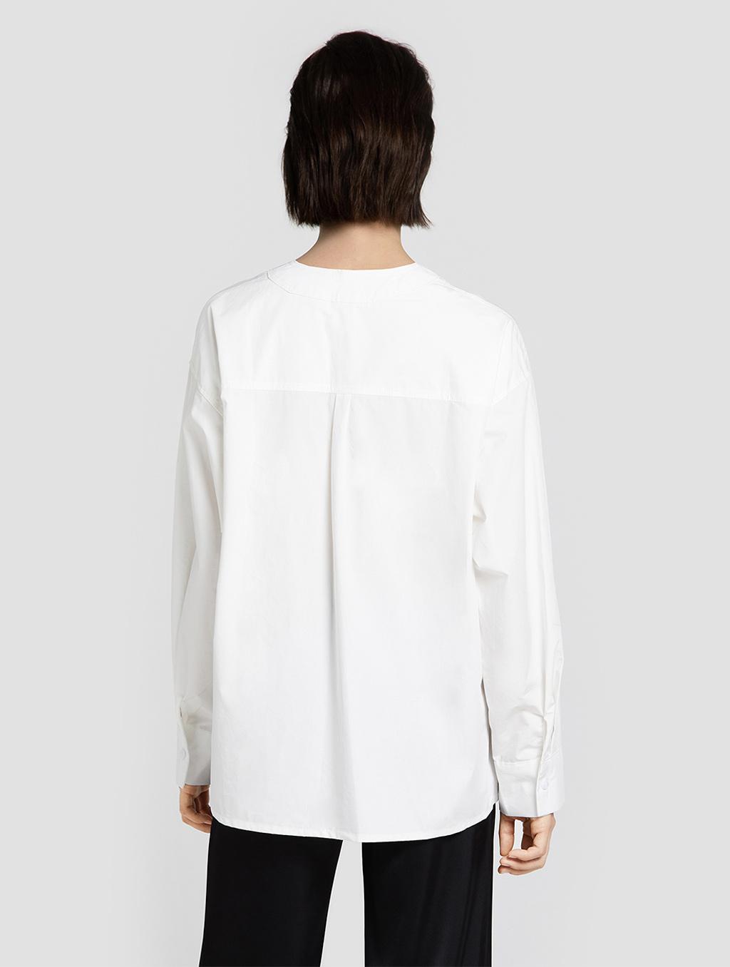 V neck panelled blouse- back- white