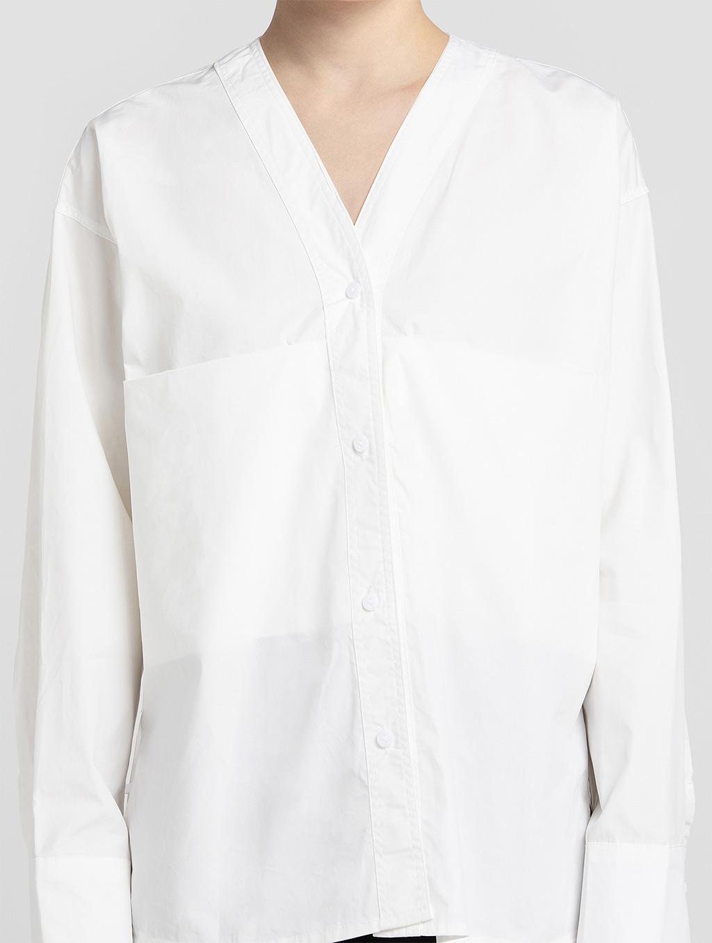 V neck panelled blouse- detail- white