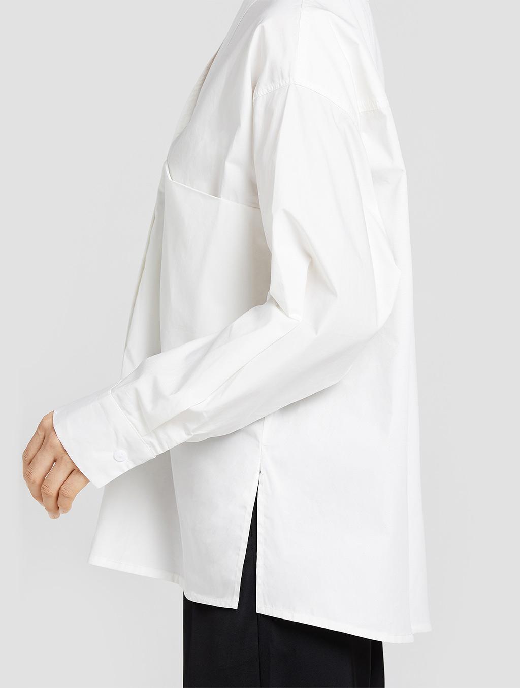 V neck panelled blouse- detail1- white
