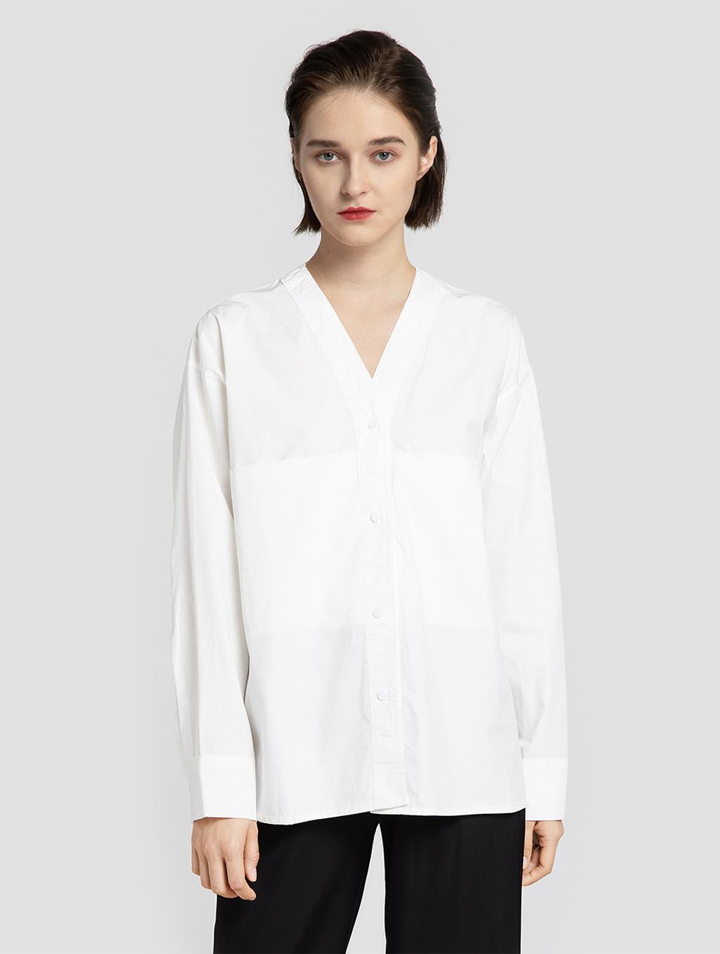 V neck panelled blouse- positive- white