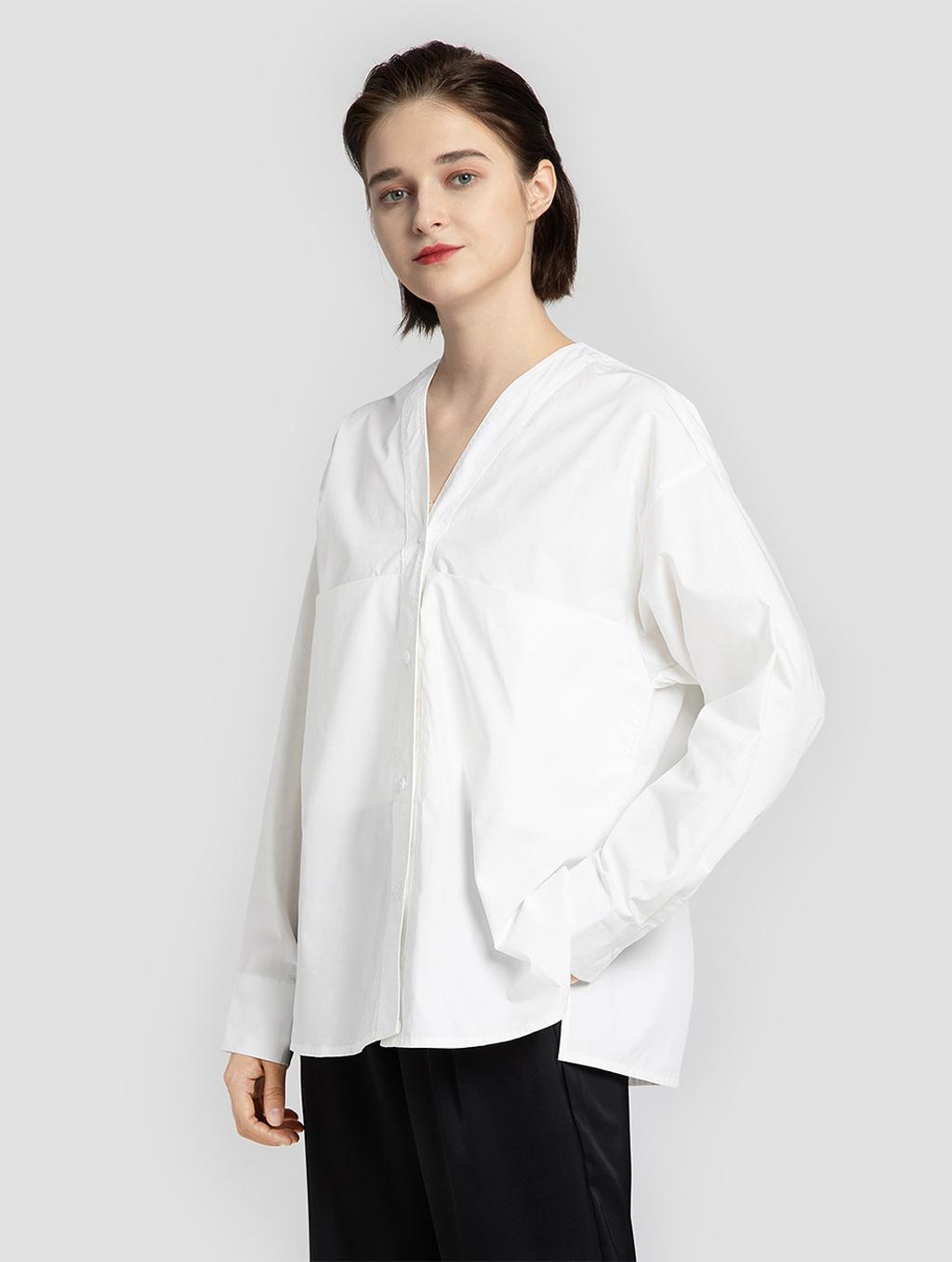 V neck panelled blouse- side- white