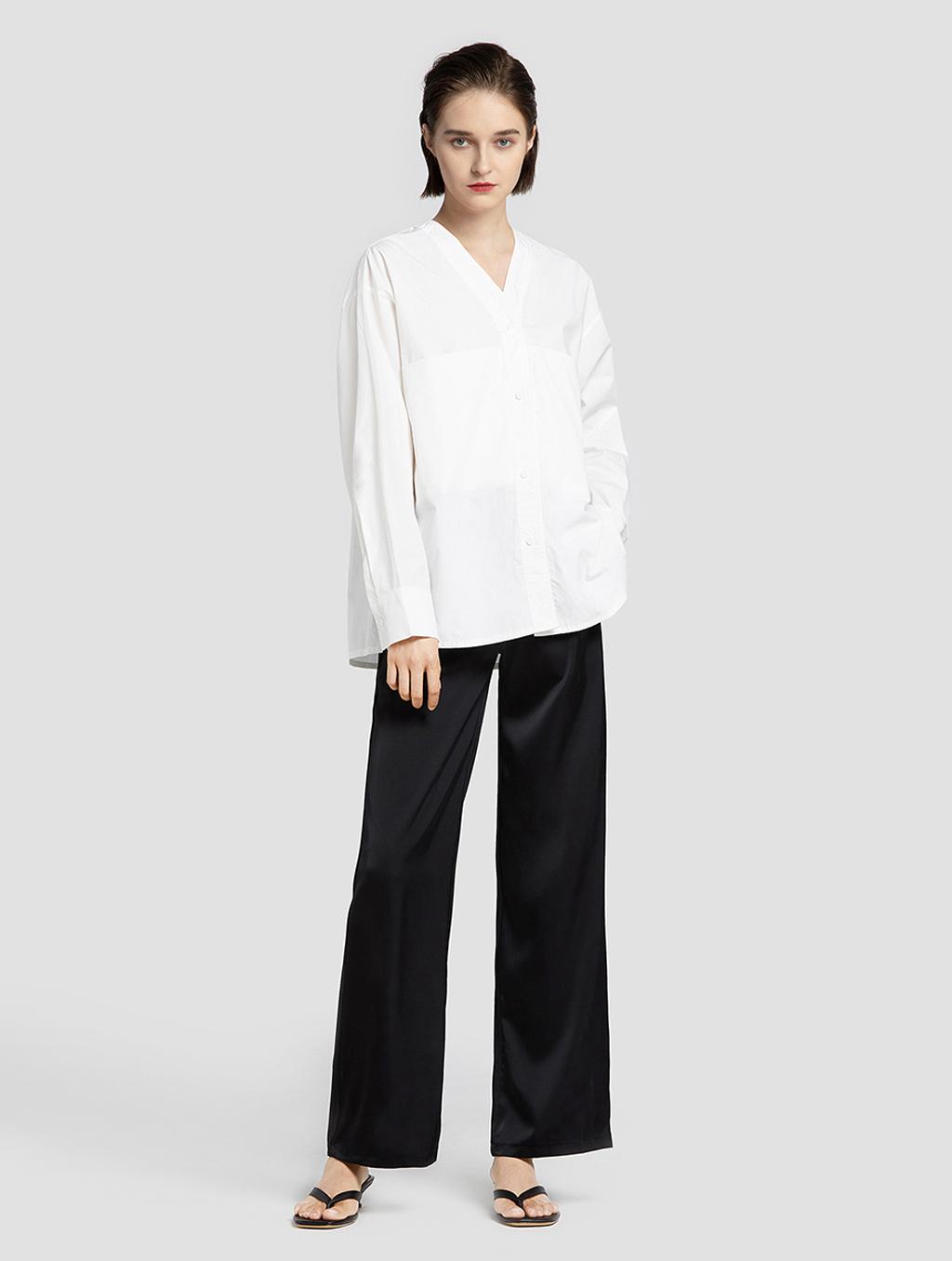 V neck panelled blouse- whole body- white