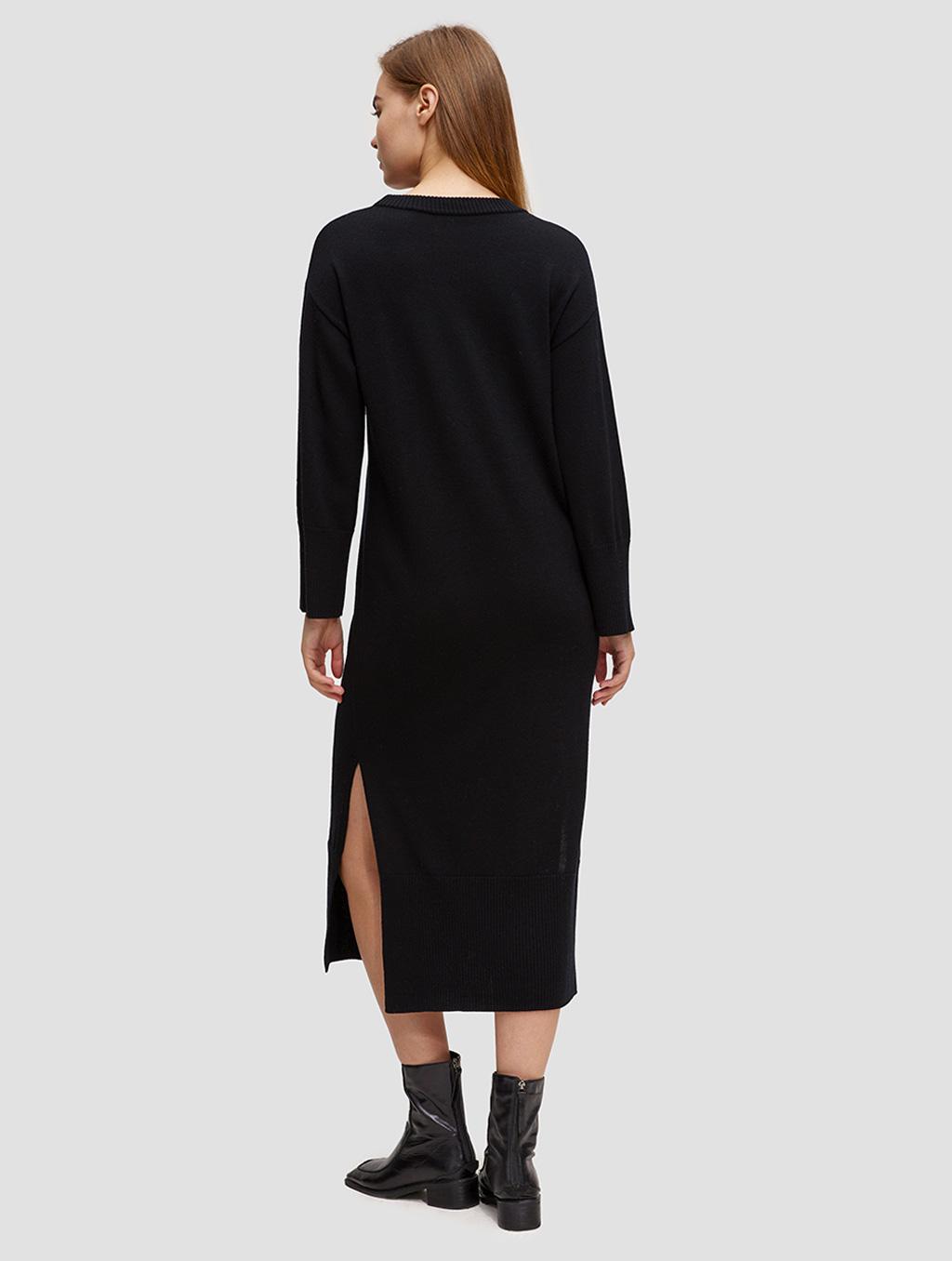 round neck knit dress-back-black