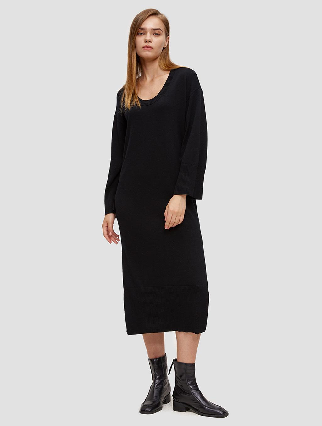 round neck knit dress-positive-black