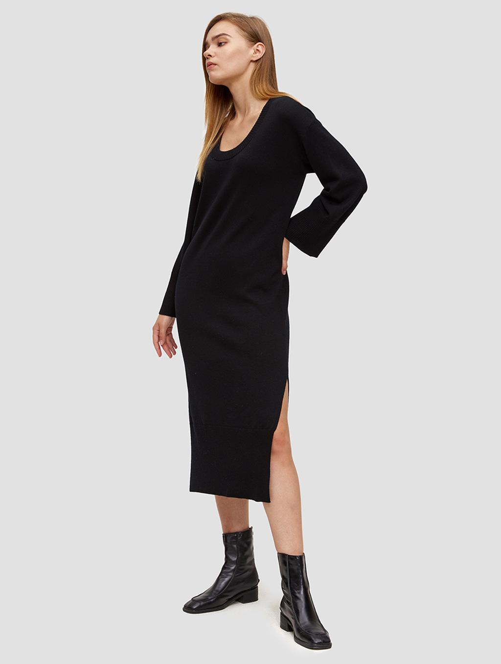 round neck knit dress-side-black