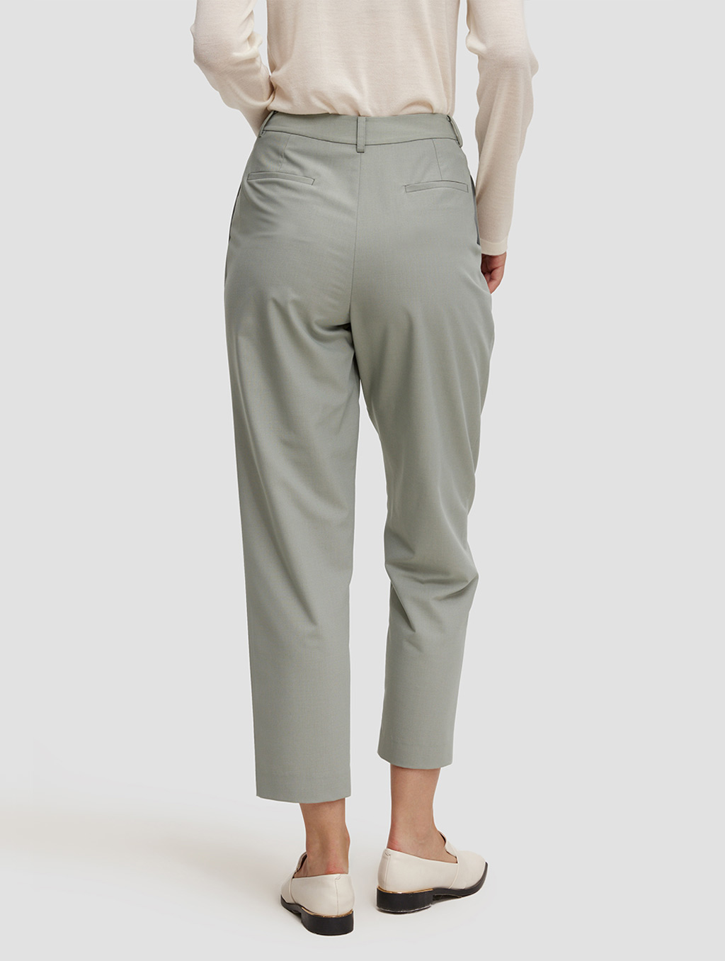 Ankle length Tapered pants-back-pale green
