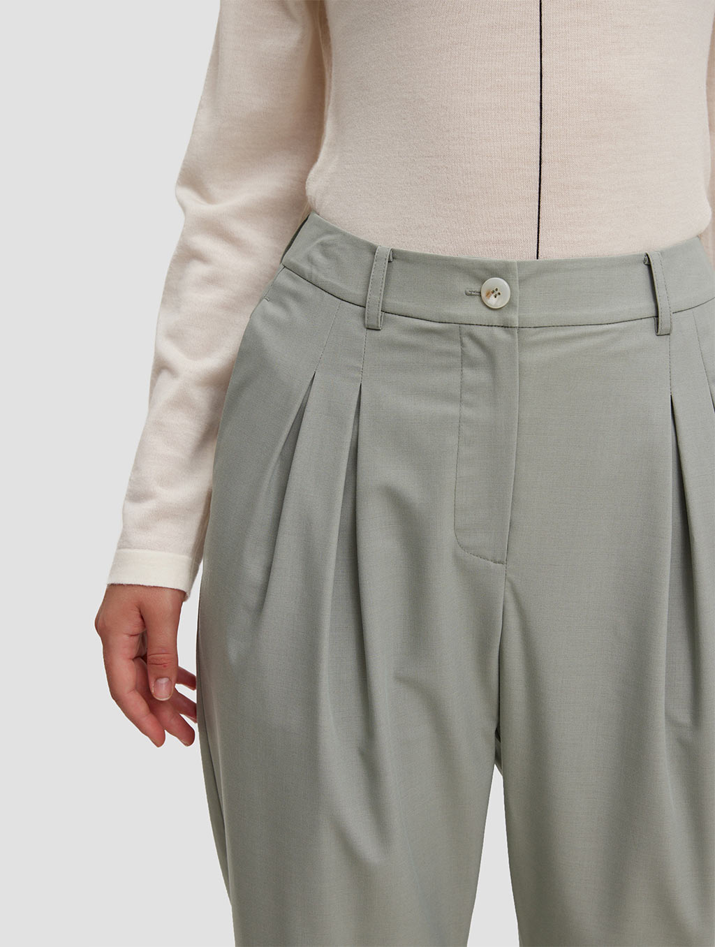 Ankle length Tapered pants-detail1-pale green