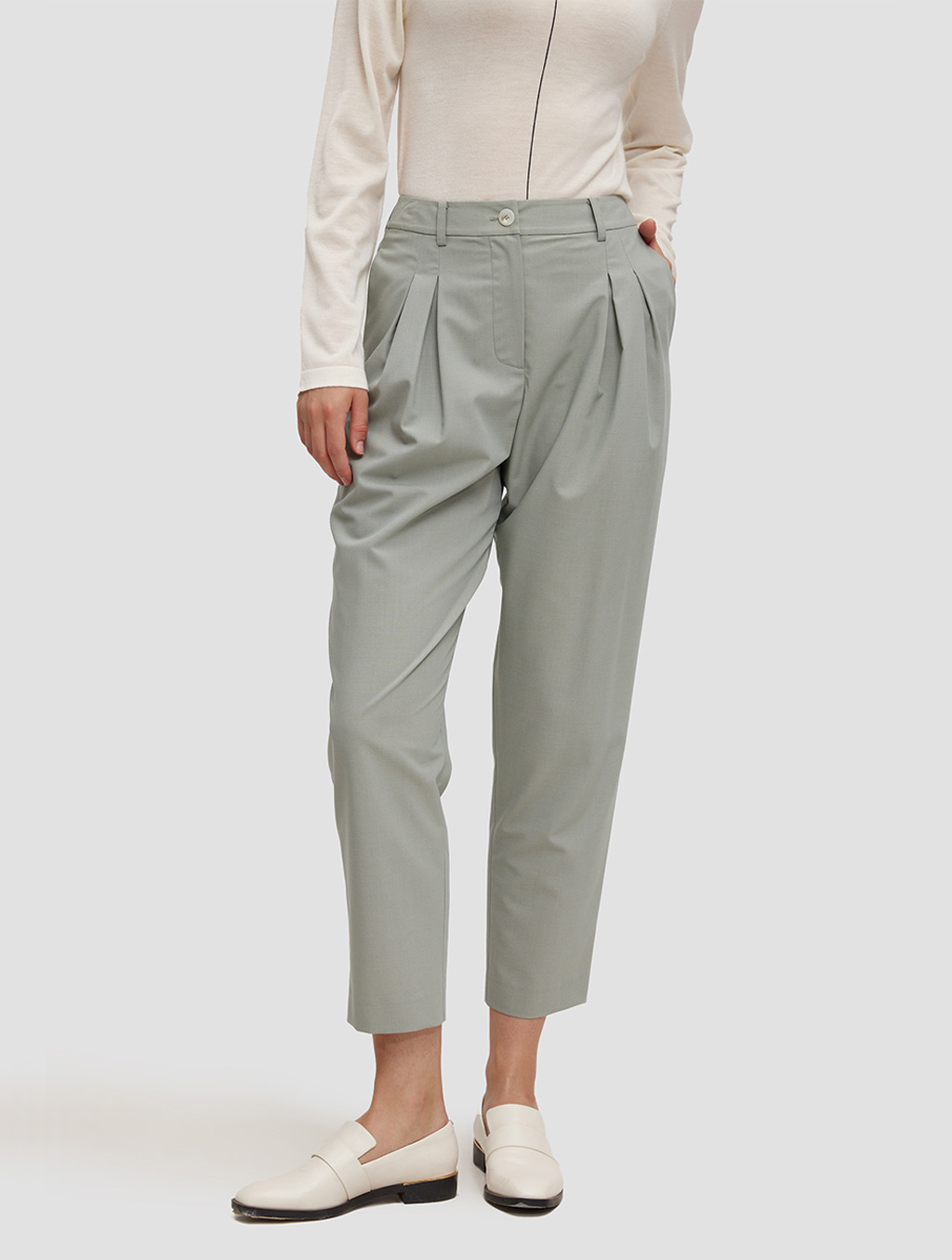 Ankle length Tapered pants-positive-pale green