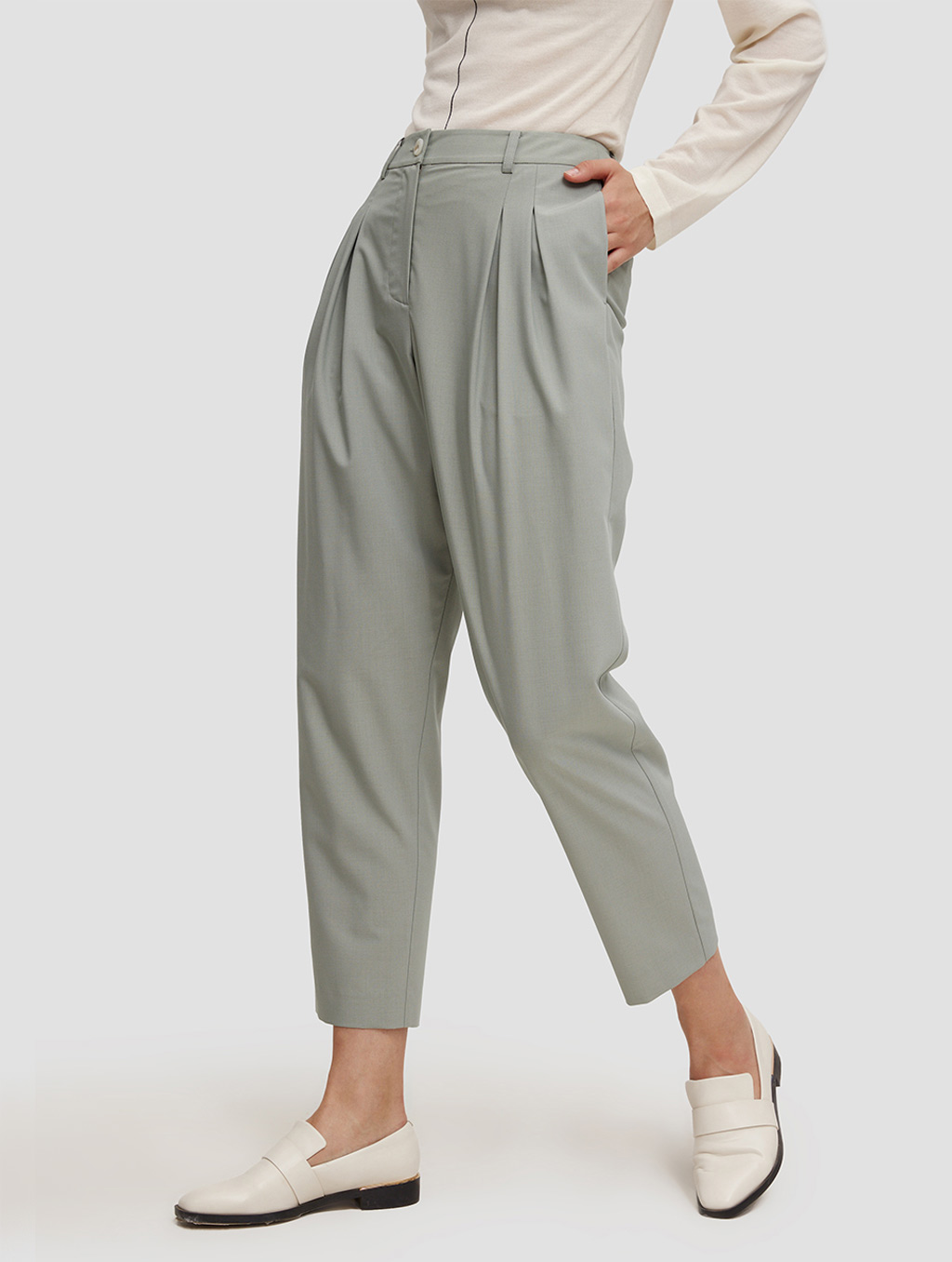 Ankle length Tapered pants-side-pale green