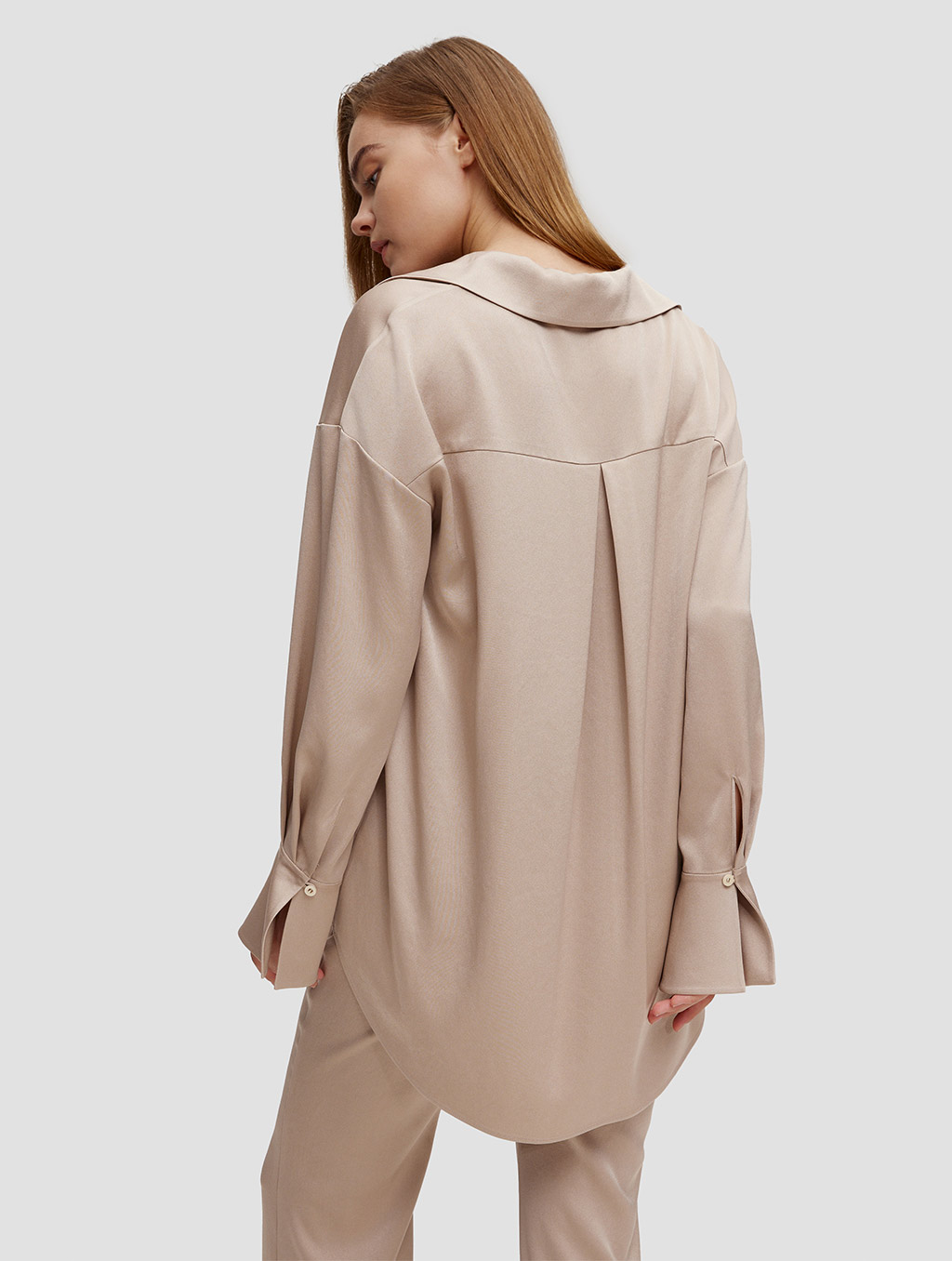 Buttoned Cuff Blouse - back- light camel