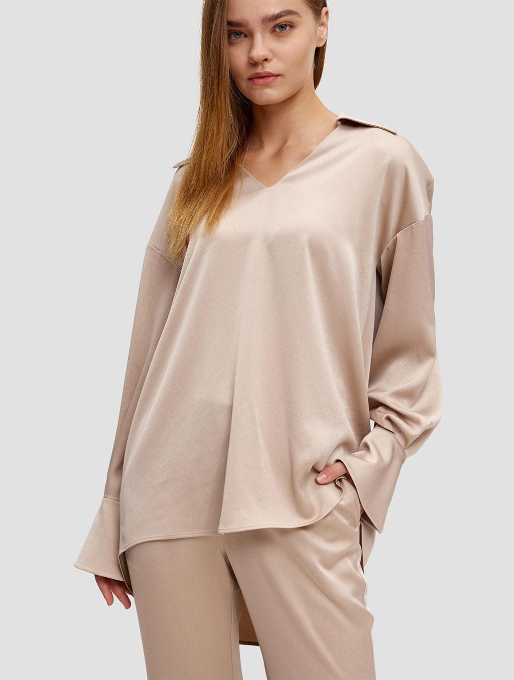 Buttoned Cuff Blouse - positive- light camel
