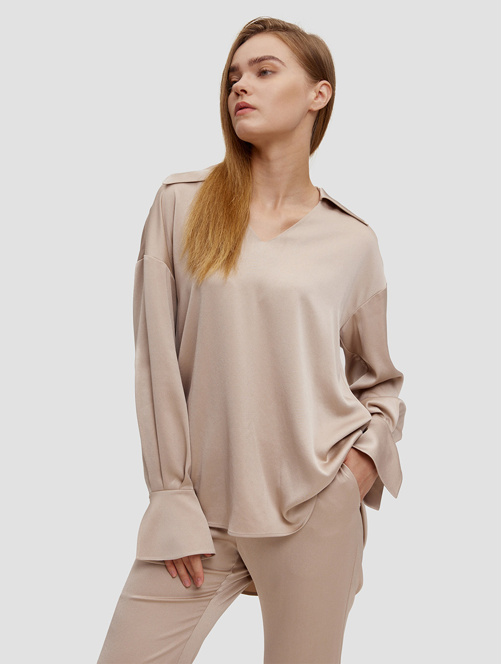 Buttoned Cuff Blouse - positive- light camel1
