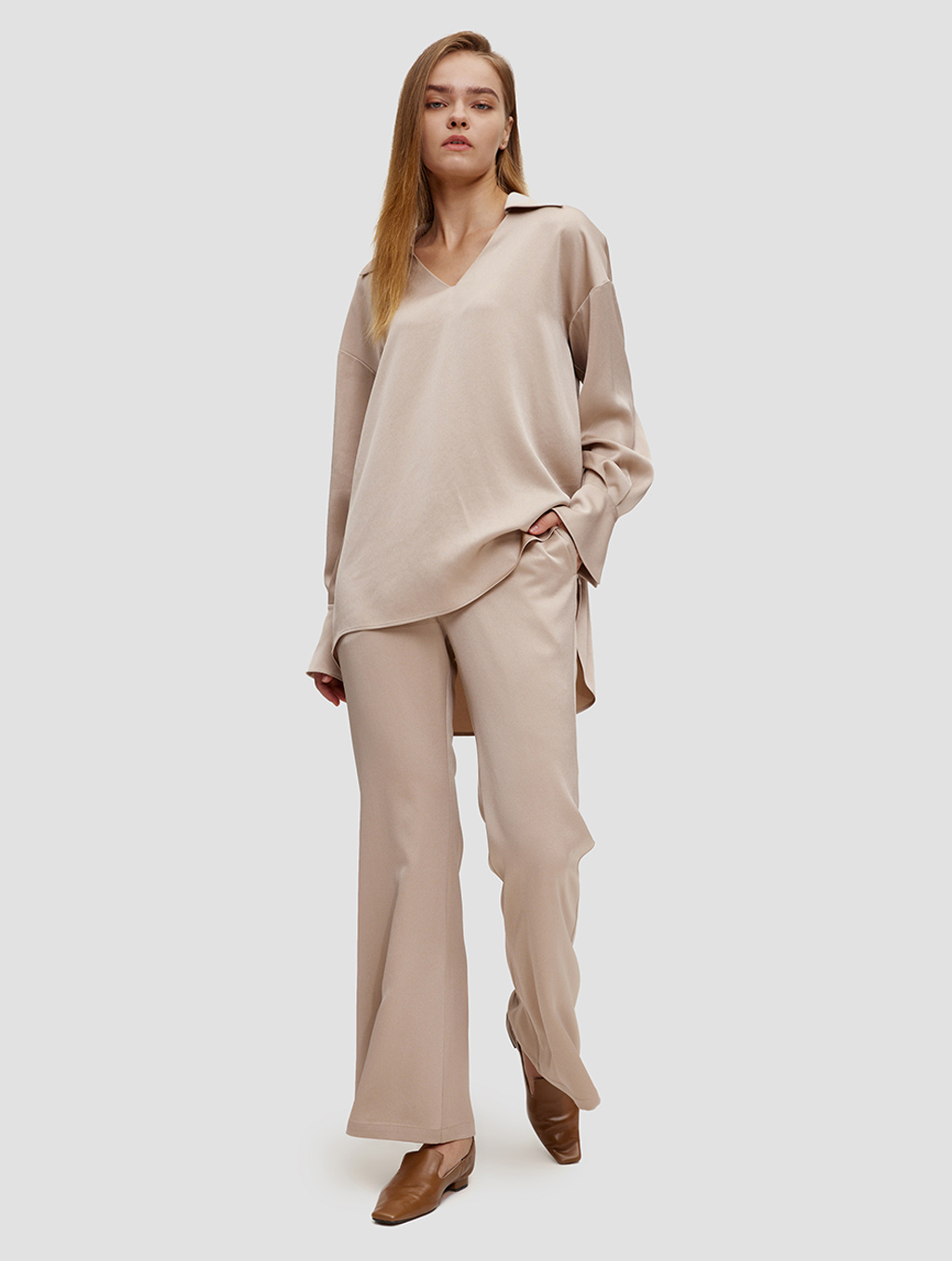 Buttoned Cuff Blouse - whole body -light camel