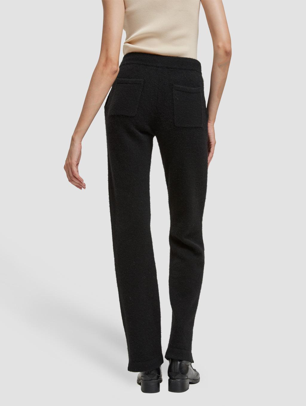 Drawstring straight yak wool pants-back-black