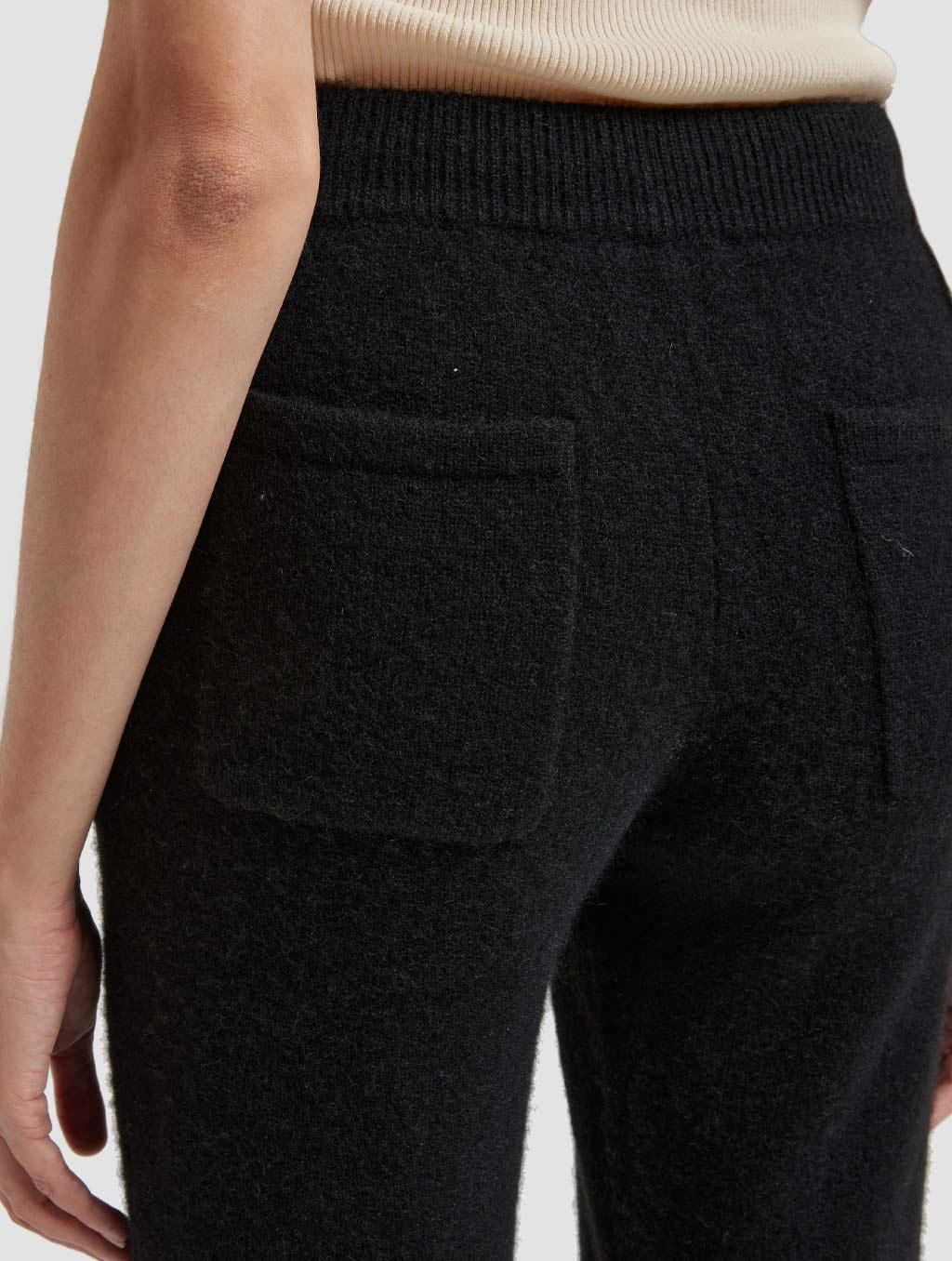 Drawstring straight yak wool pants-detail-black