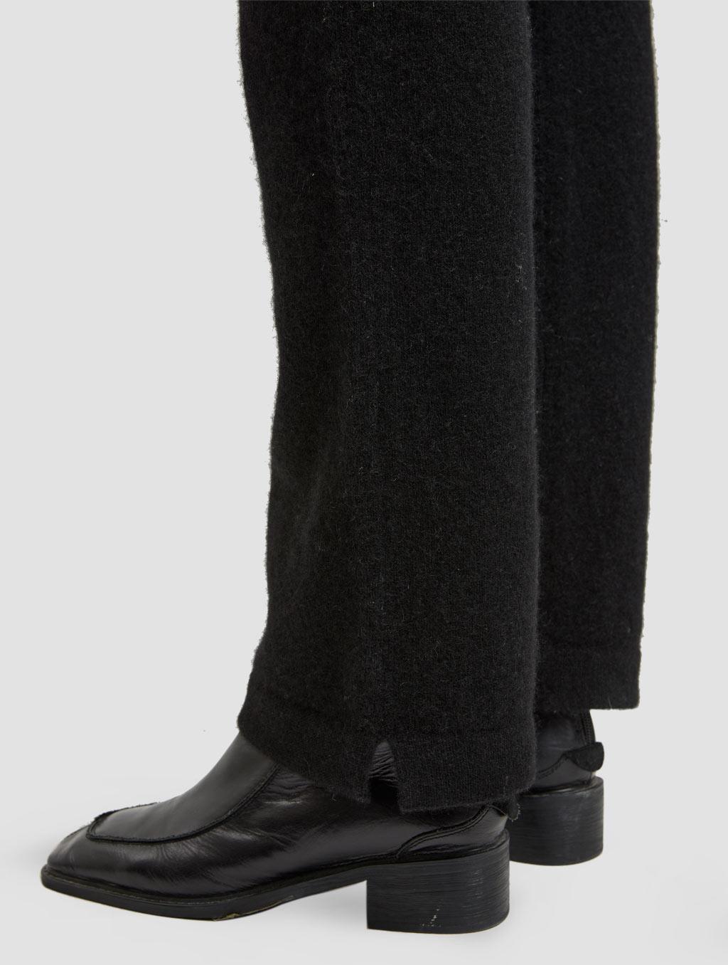 Drawstring straight yak wool pants-detail1-black