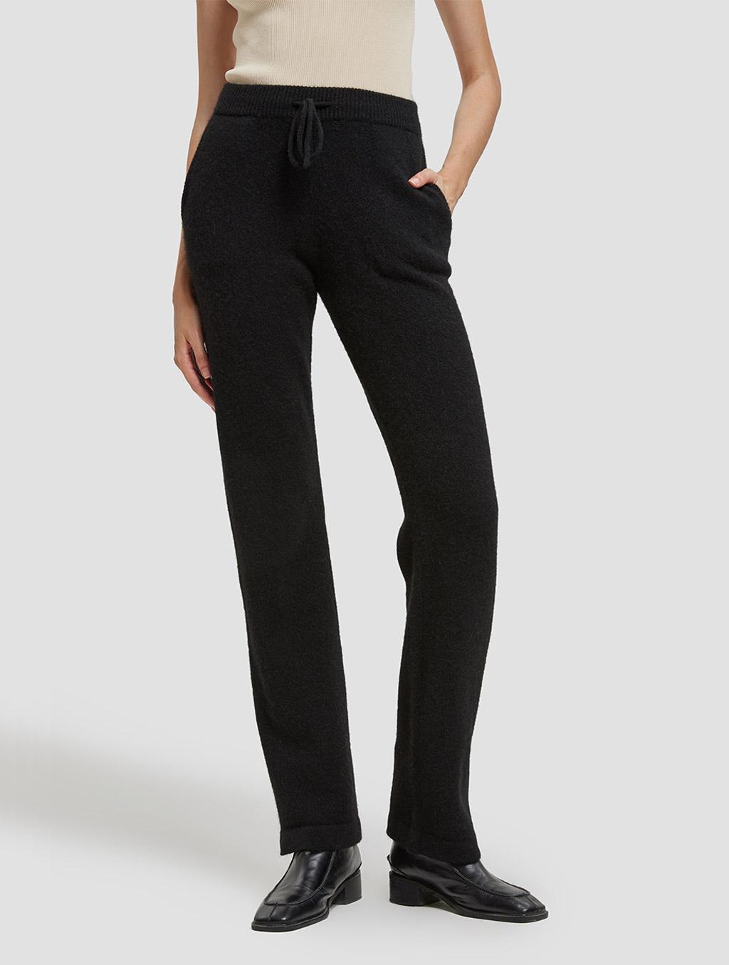 Drawstring straight yak wool pants-positive-black