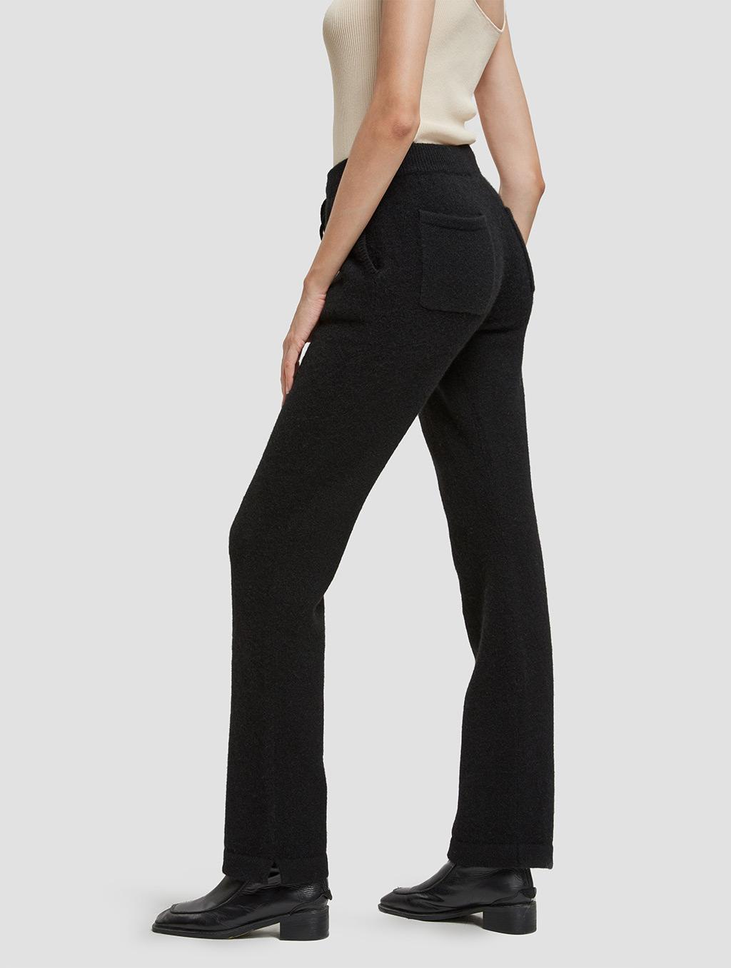 Drawstring straight yak wool pants-side-black
