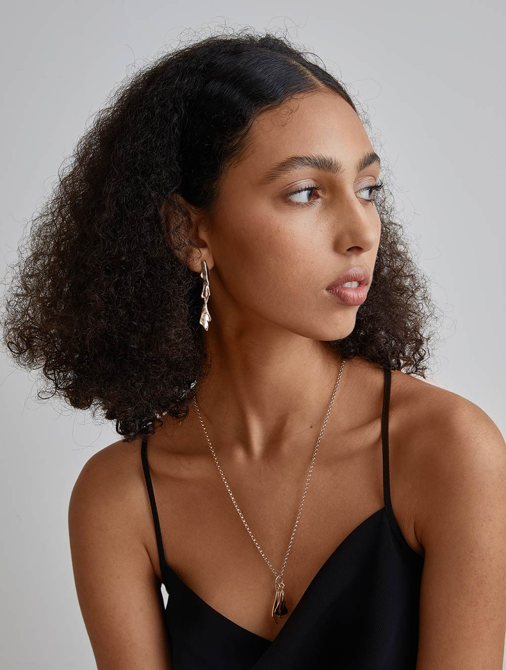 Falling Drip Necklace-model1-Sterling Silver