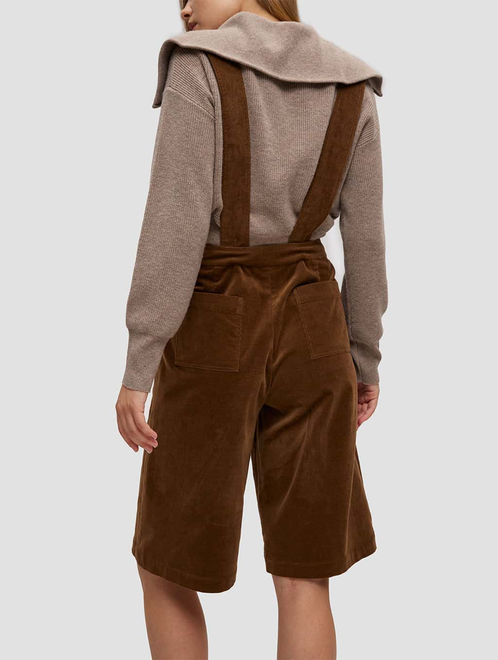 Overall Shorts - back- brown
