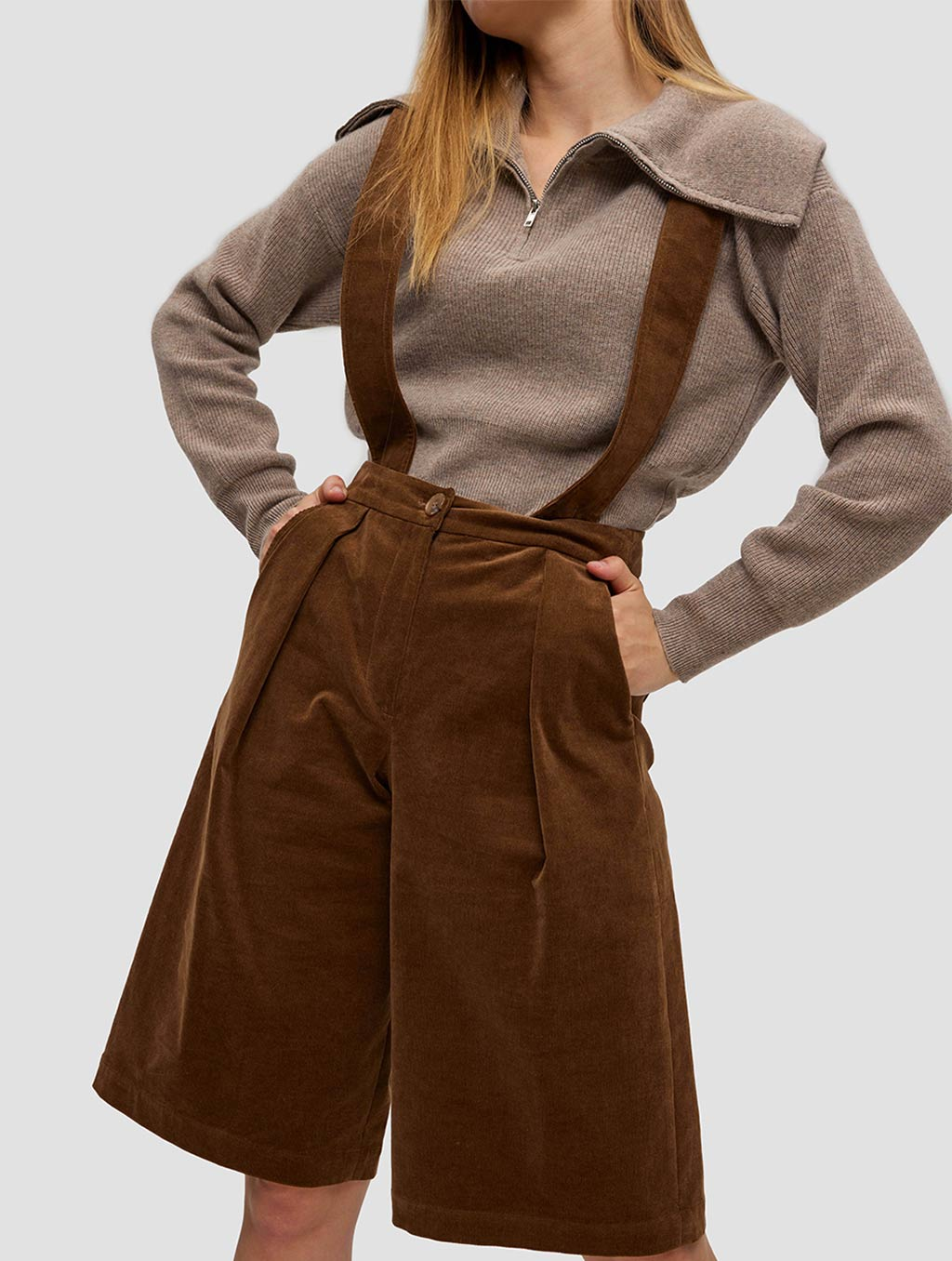 Overall Shorts - positive- brown